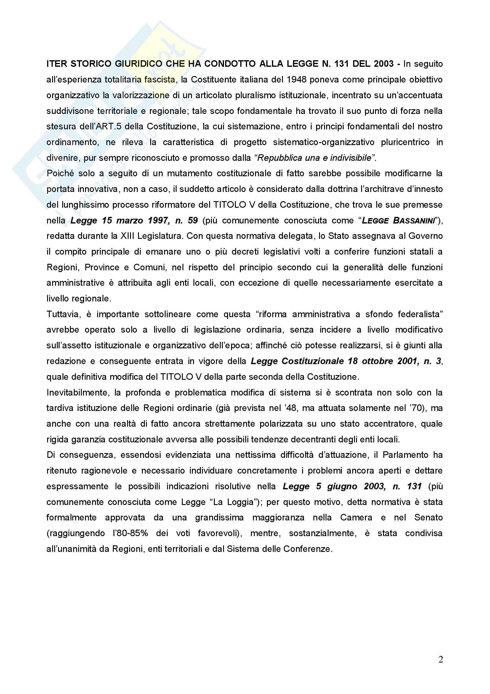 Diritto Costituzionale regionale - commento alla legge La Loggia di RIforma del titolo V Pag. 2