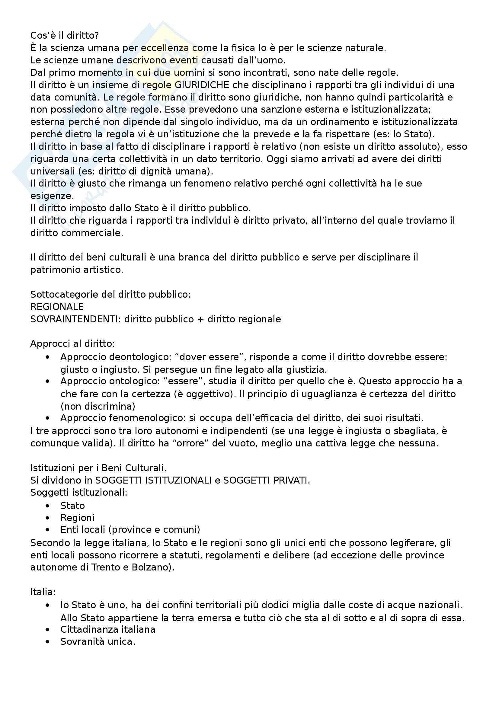 Diritto dei beni culturali - Appunti