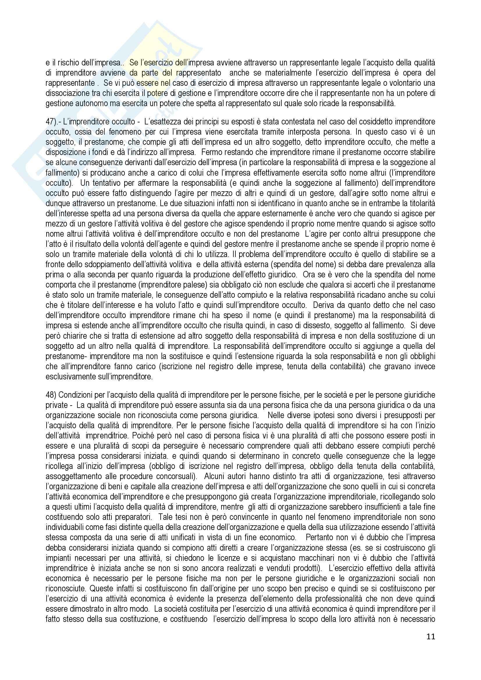 Riassunto esame Diritto Commerciale, prof. Terranova, libro consigliato Manuale di Diritto Commerciale, Ferri Pag. 11