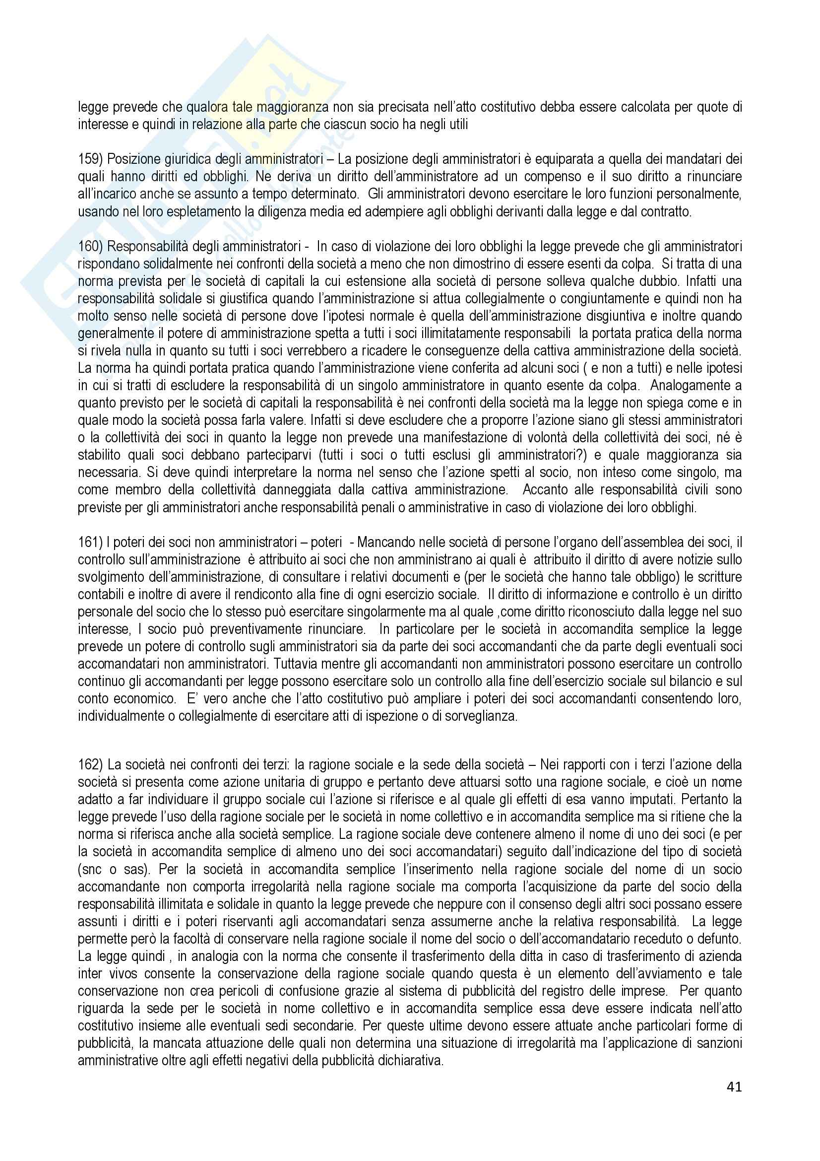 Riassunto esame Diritto Commerciale, prof. Terranova, libro consigliato Manuale di Diritto Commerciale, Ferri Pag. 41