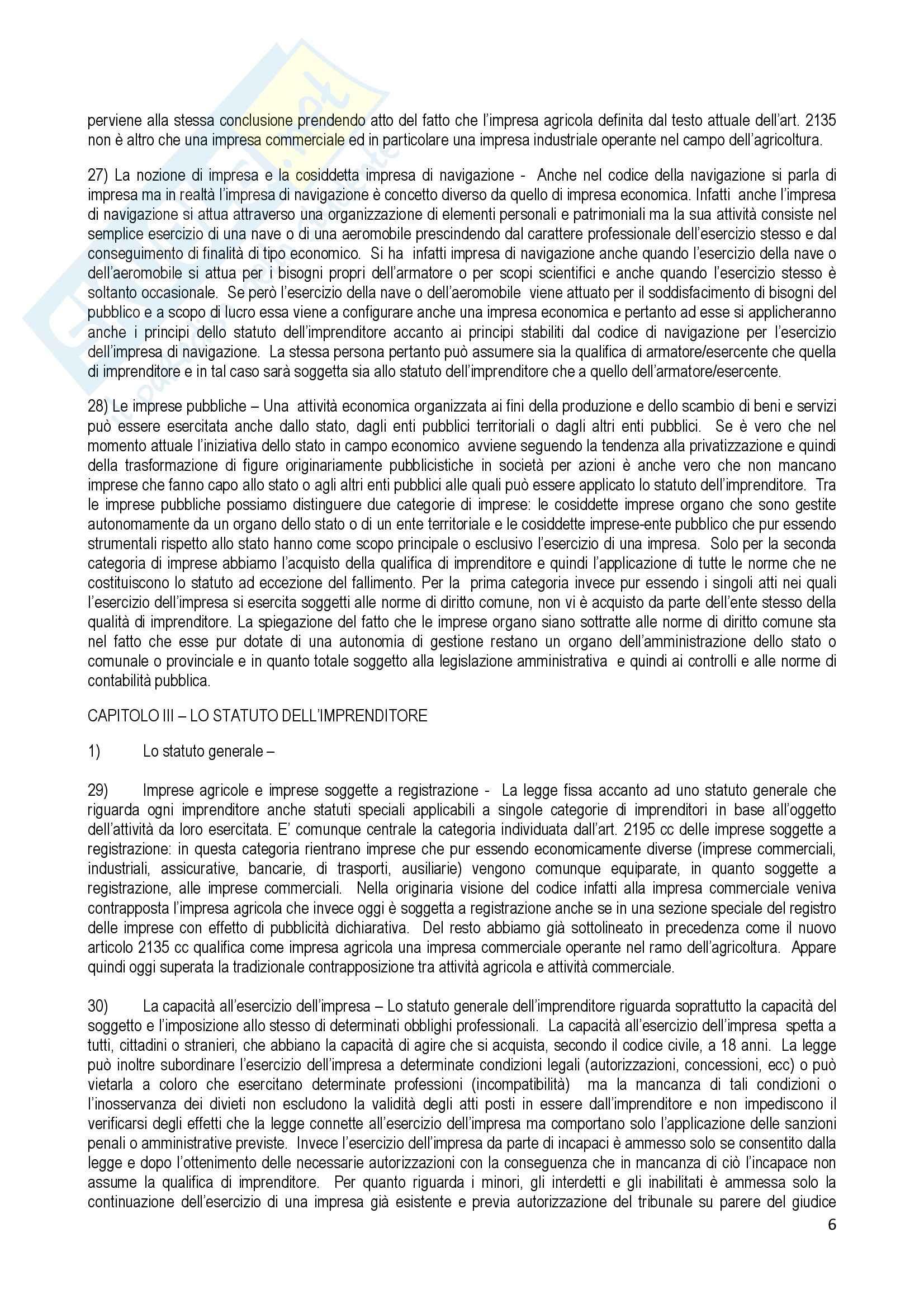 Riassunto esame Diritto Commerciale, prof. Terranova, libro consigliato Manuale di Diritto Commerciale, Ferri Pag. 6
