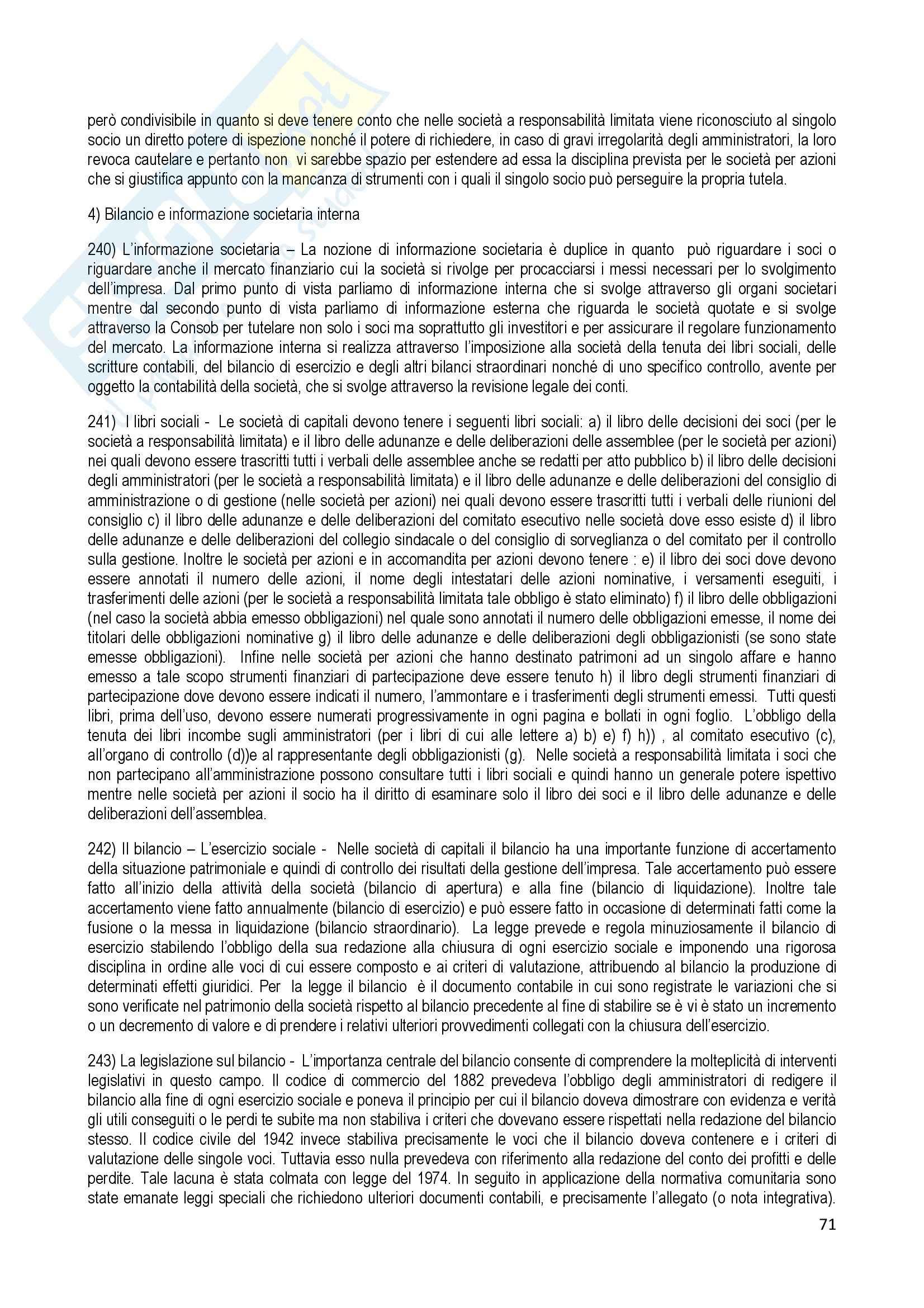 Riassunto esame Diritto Commerciale, prof. Terranova, libro consigliato Manuale di Diritto Commerciale, Ferri Pag. 71