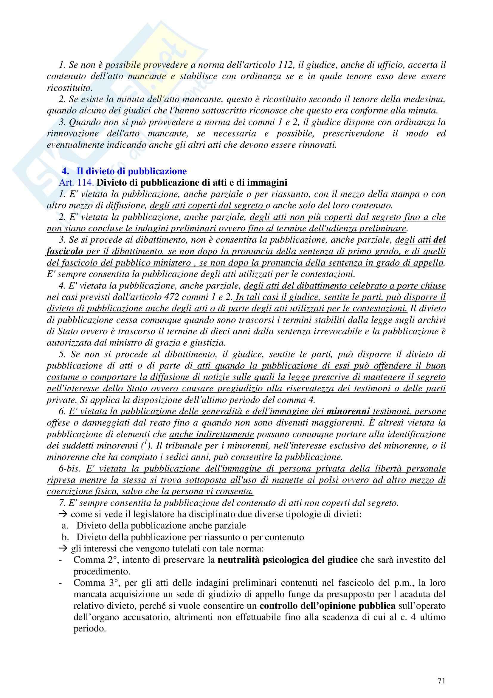 Riassunto esame Procedura Penale, prof. Galgani, libro consigliato Diritto Processuale Penale I di Conso e Grevi Pag. 71