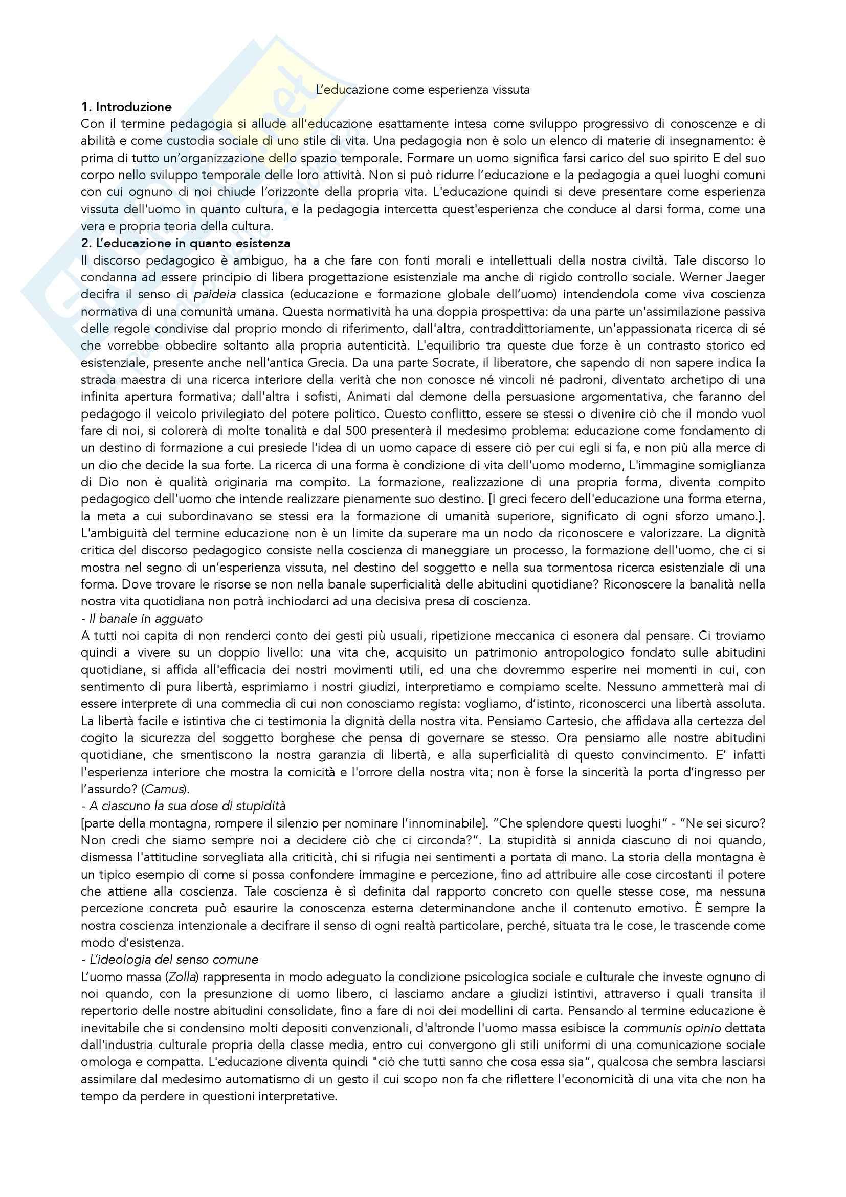 "Riassunto esame pedagogia generale, prof. Madrussan, testo consigliato ""Educazione come esperienza vissuta"", Madrussan"