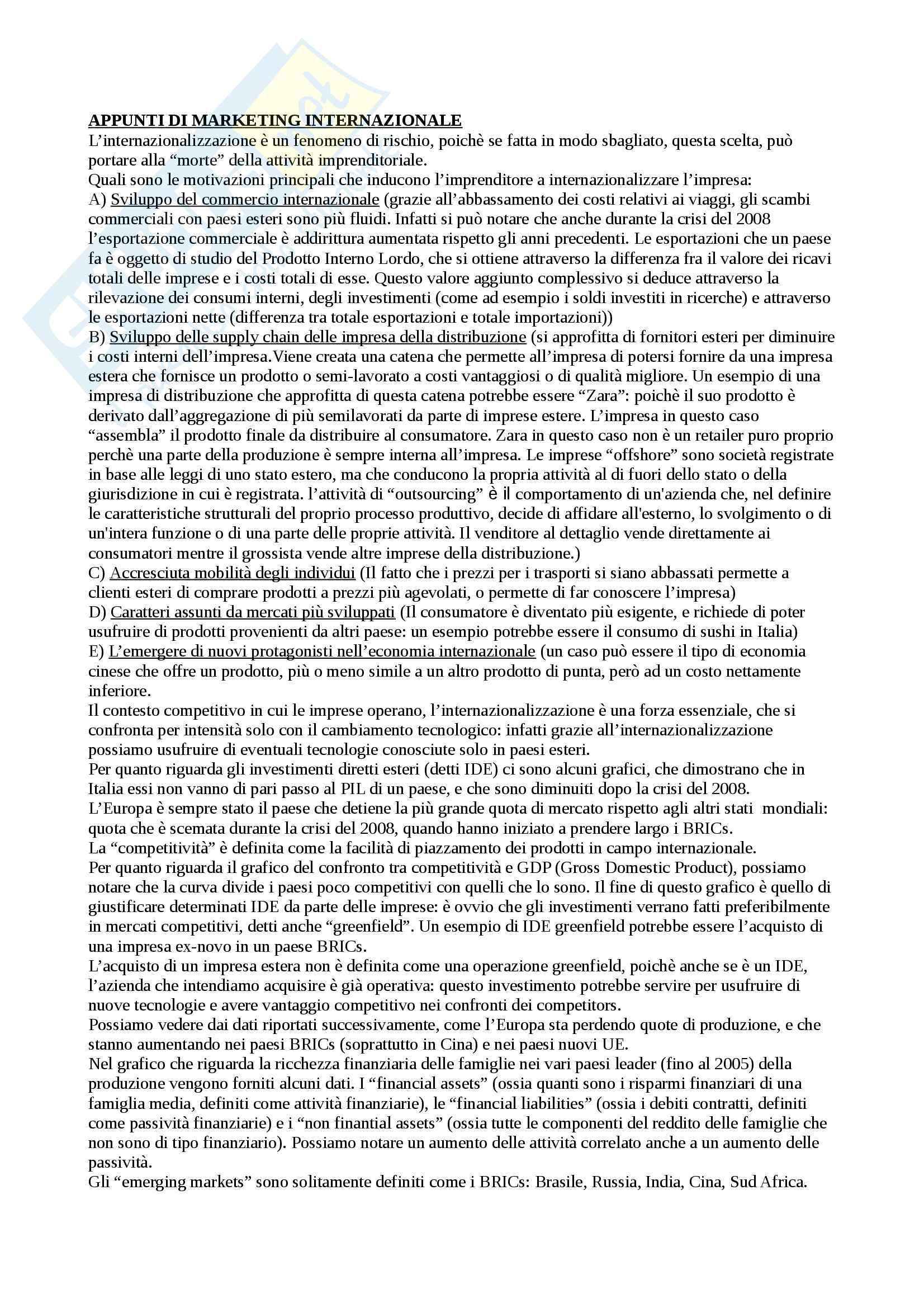 Appunti Esame Intermedio Marketing internazionale