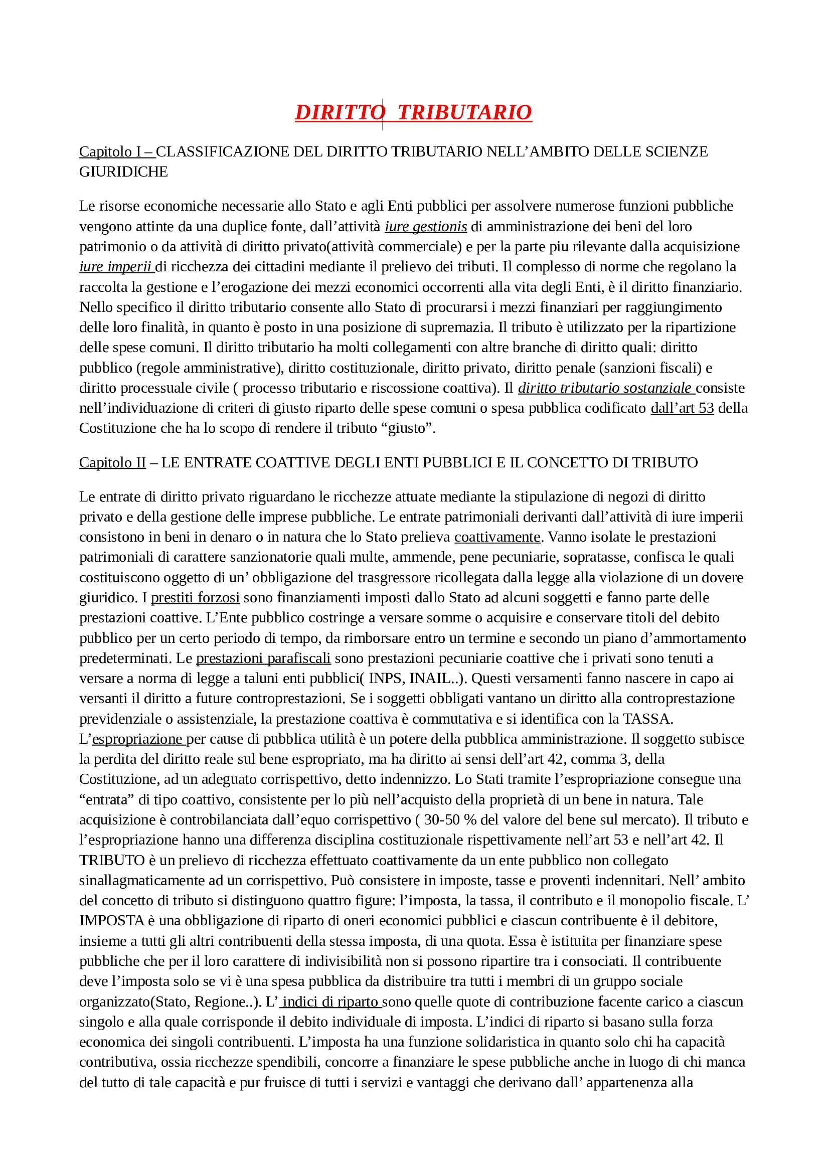 Riassunto esame Diritto Tributario, prof. Giovanardi, libro consigliato Manuale di Diritto Tributario, Falsitta