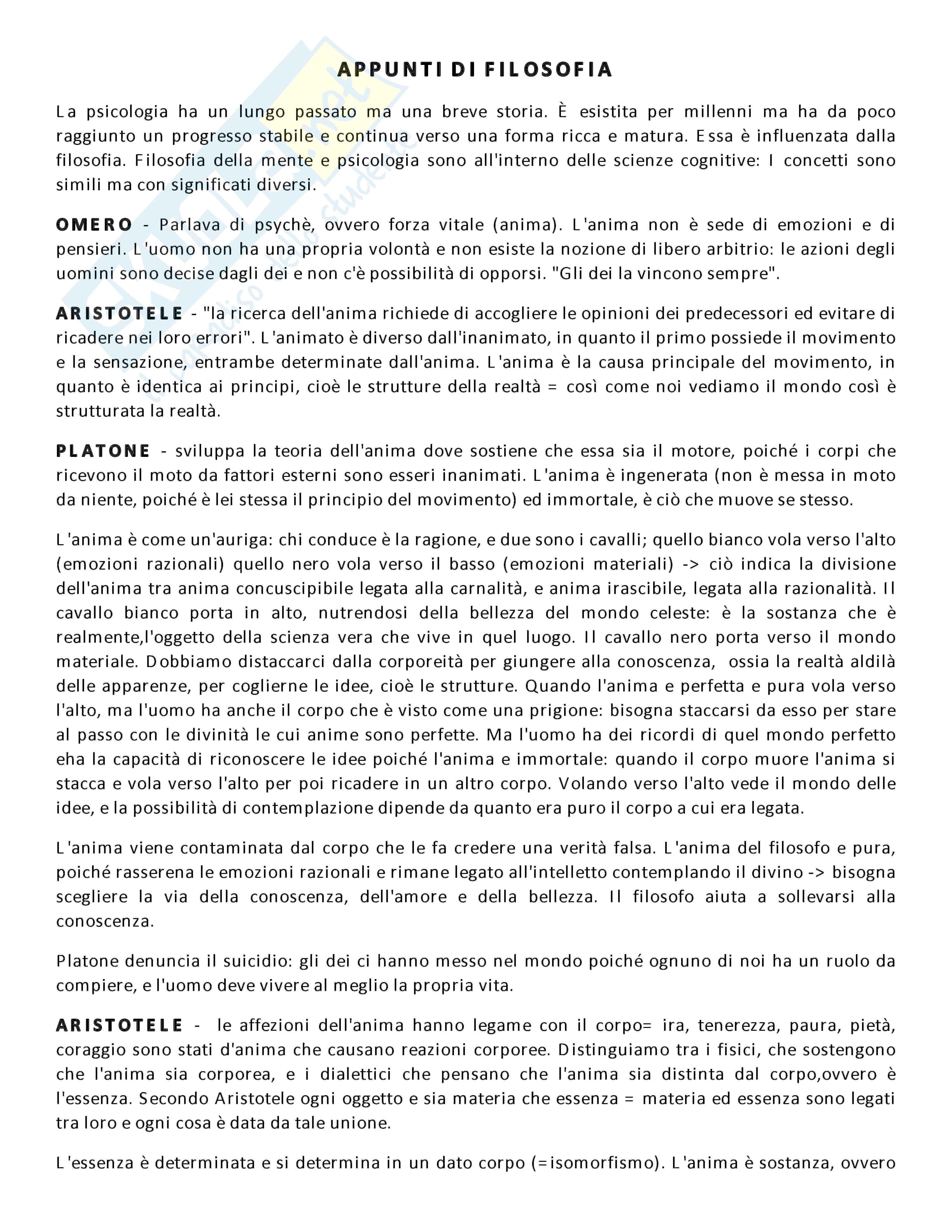 Appunti lezione di Filosofia - Università di Torino