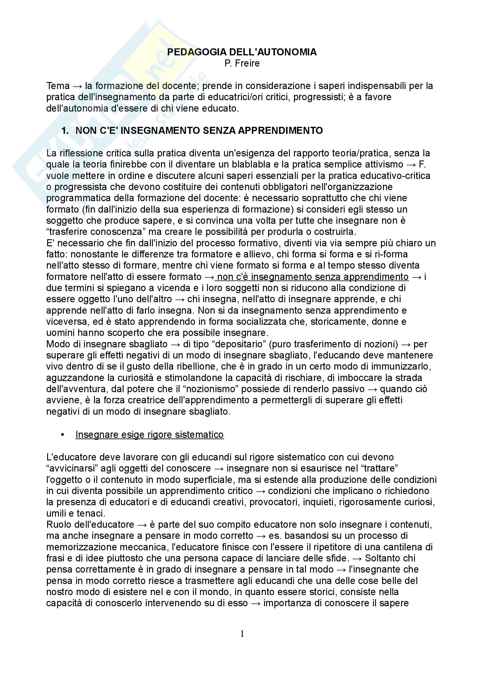 Riassunto esame Pedagogia dell'infanzia, prof. Toffano, libro consigliato Pedagogia dell'autonomia, P. Freire
