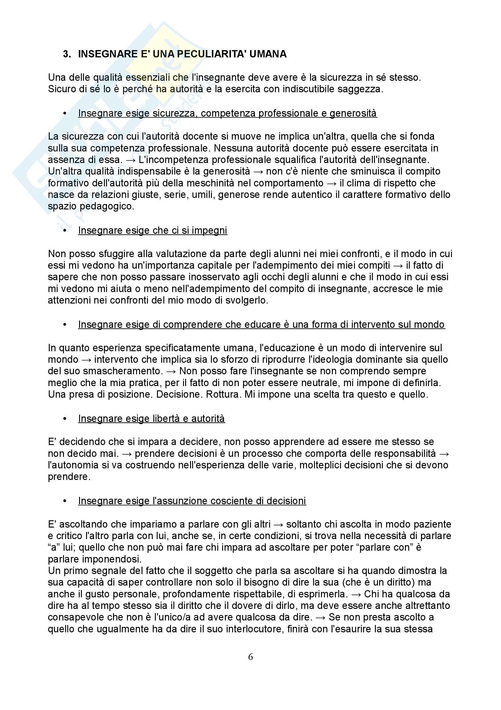 Riassunto esame Pedagogia dell'infanzia, prof. Toffano, libro consigliato Pedagogia dell'autonomia, P. Freire Pag. 6