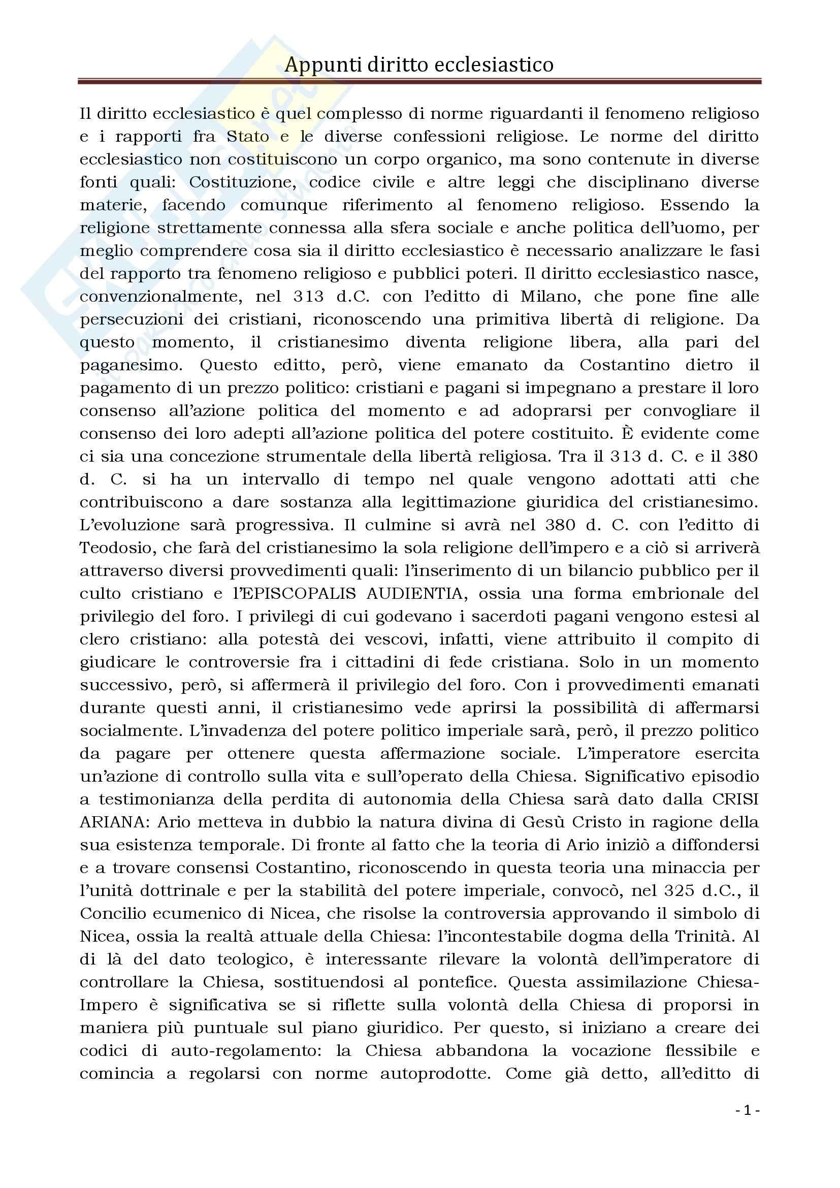 Diritto Ecclesiastico e Canonico - Corso completo