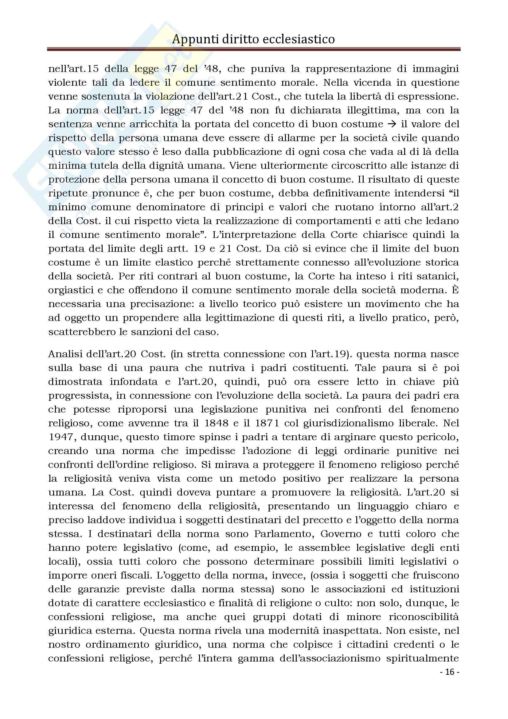 Diritto Ecclesiastico e Canonico - Corso completo Pag. 16