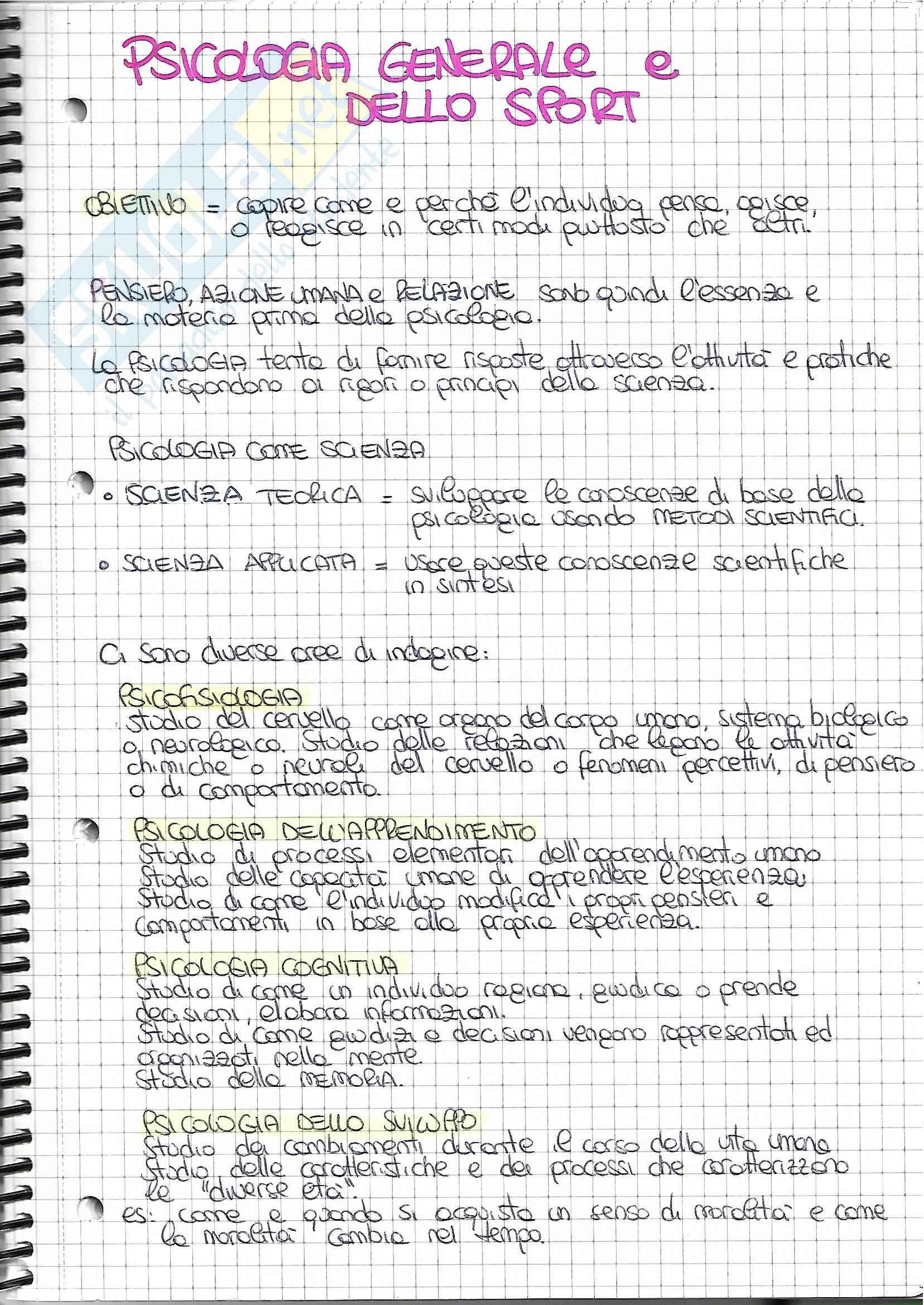 Appunti di psicologia generale e dello sport