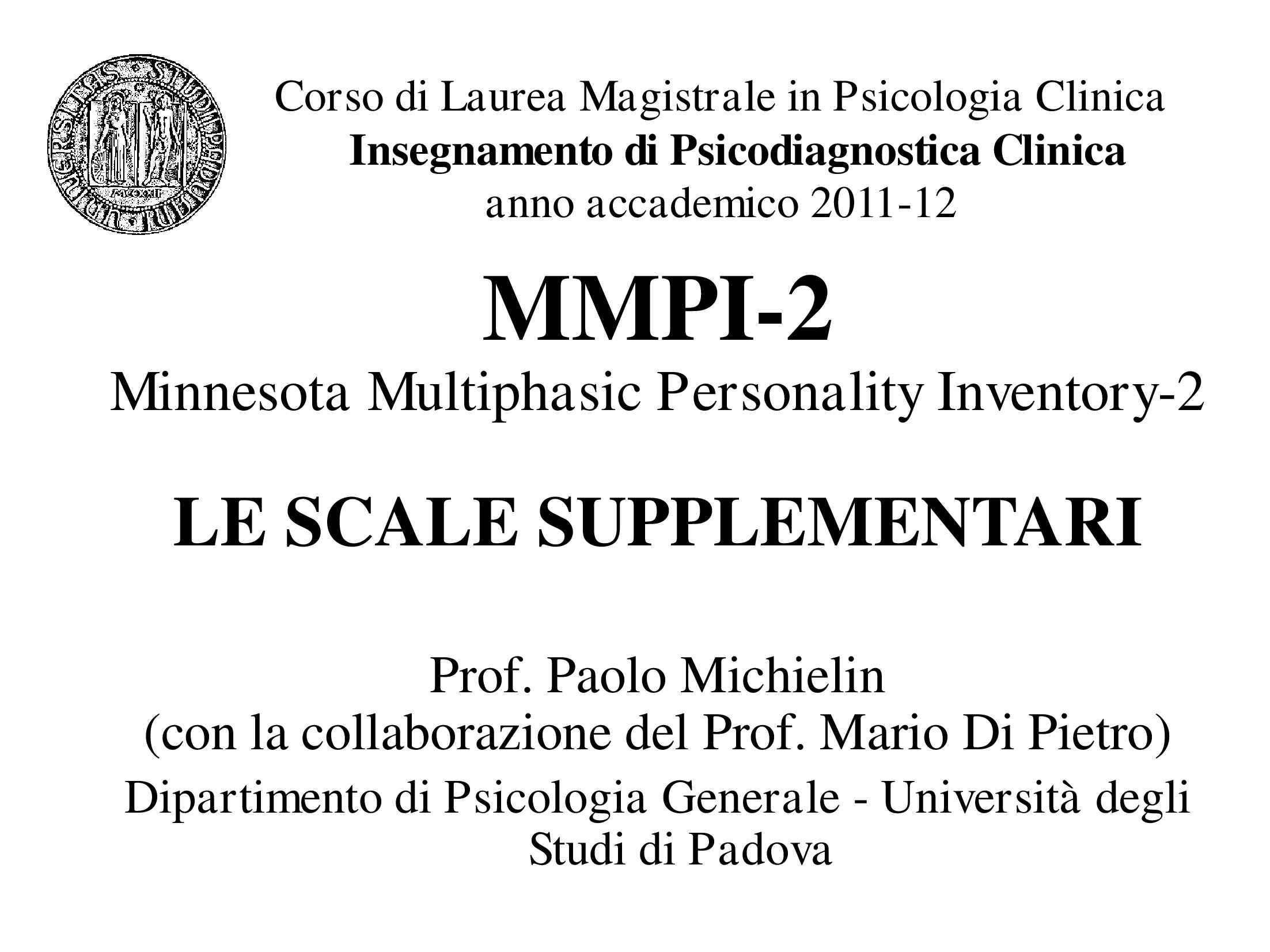 Scale supplementari dell'MMPI-2