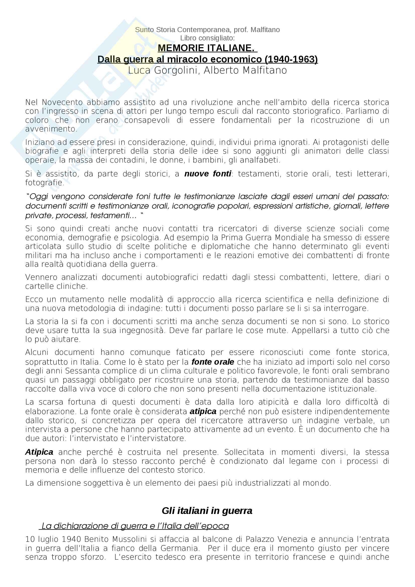 Riassunto esame storia contemporanea, Prof Malfitano, libro consigliato Memorie Italiane, dalla guerra al miracolo economico di Malfitano