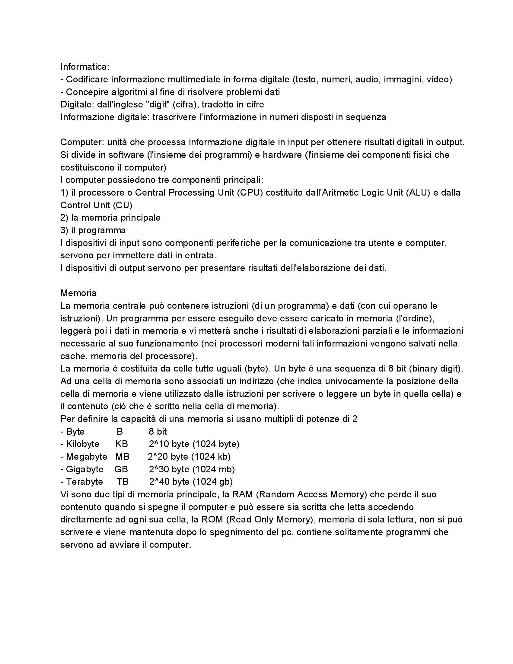 Informatica - Introduzione