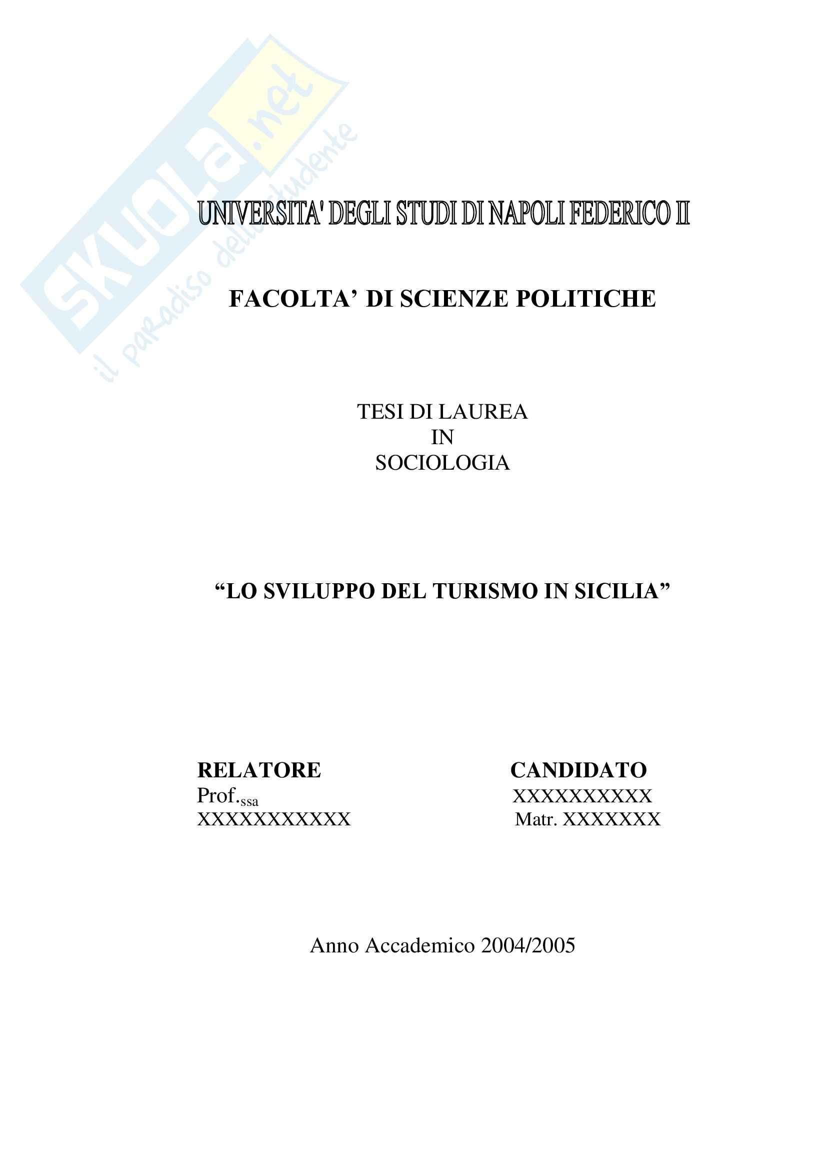 Tesi di laurea sociologia lo sviluppo del turismo in Sicilia