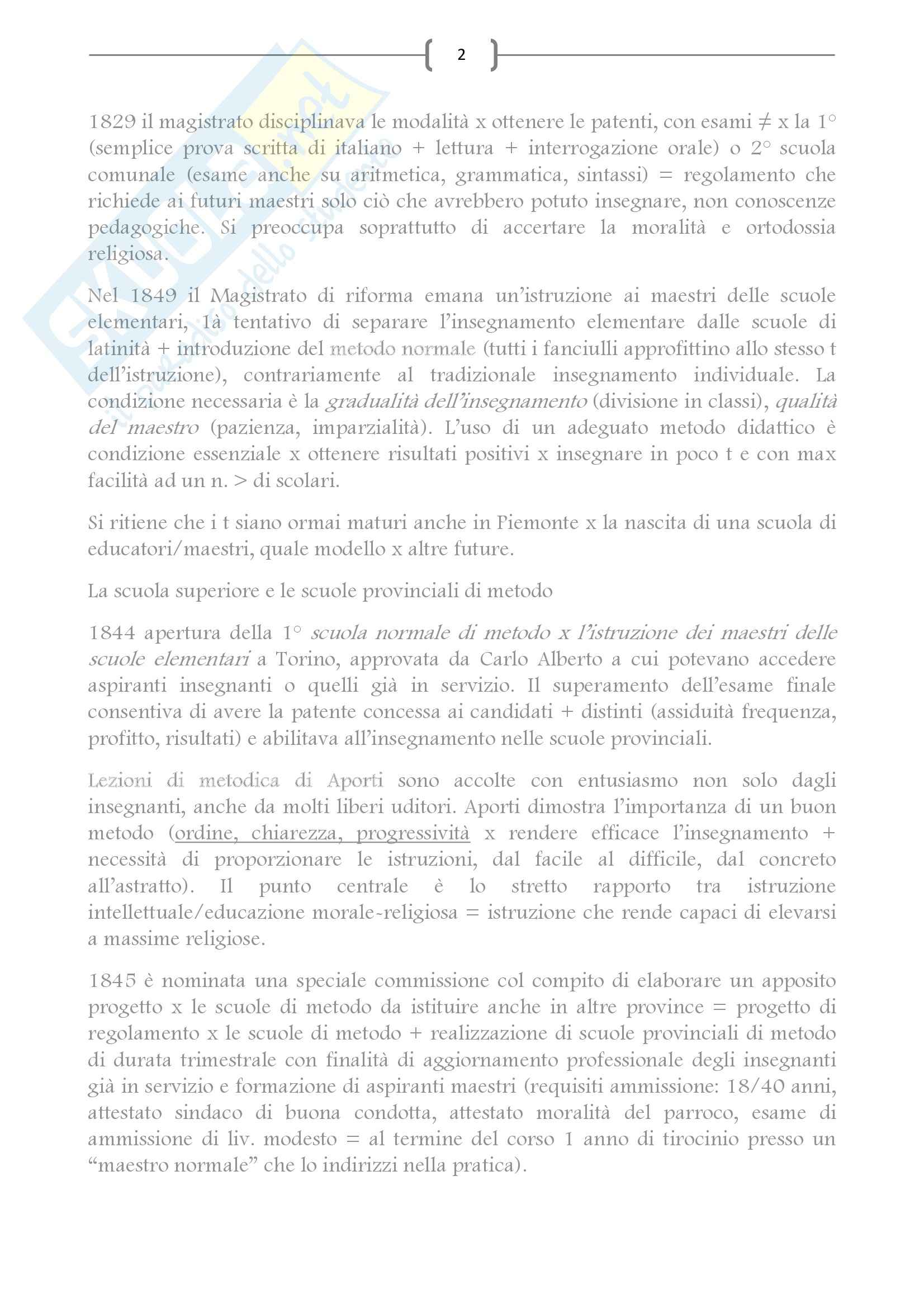 Riassunto esame Storia dell'Educazione, prof. Di Pol, libro consigliato Cultura pedagogica e professionalità nella formazione del maestro italiano, Di Pol Pag. 2