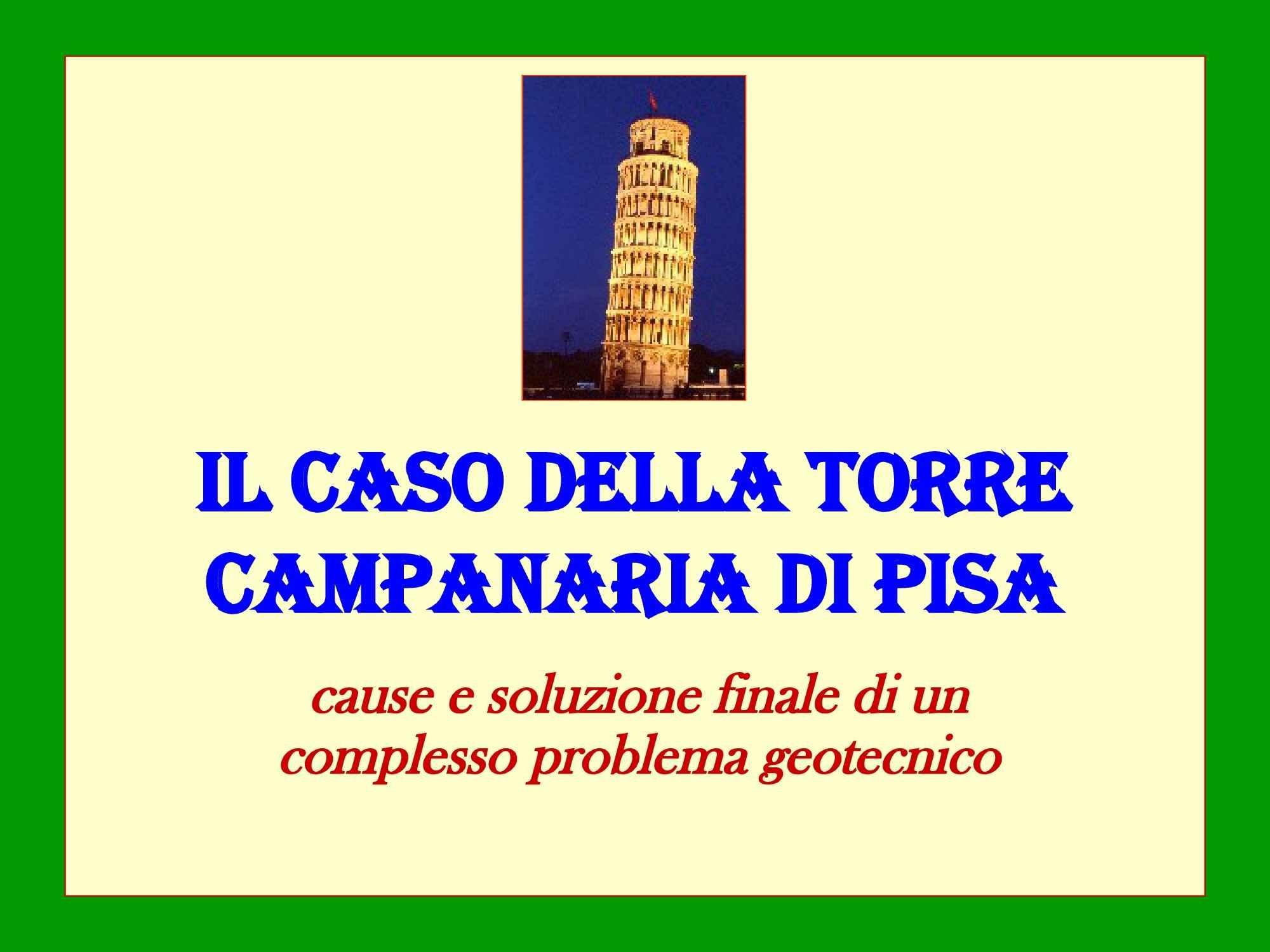Torre di Pisa - Analisi di stabilità