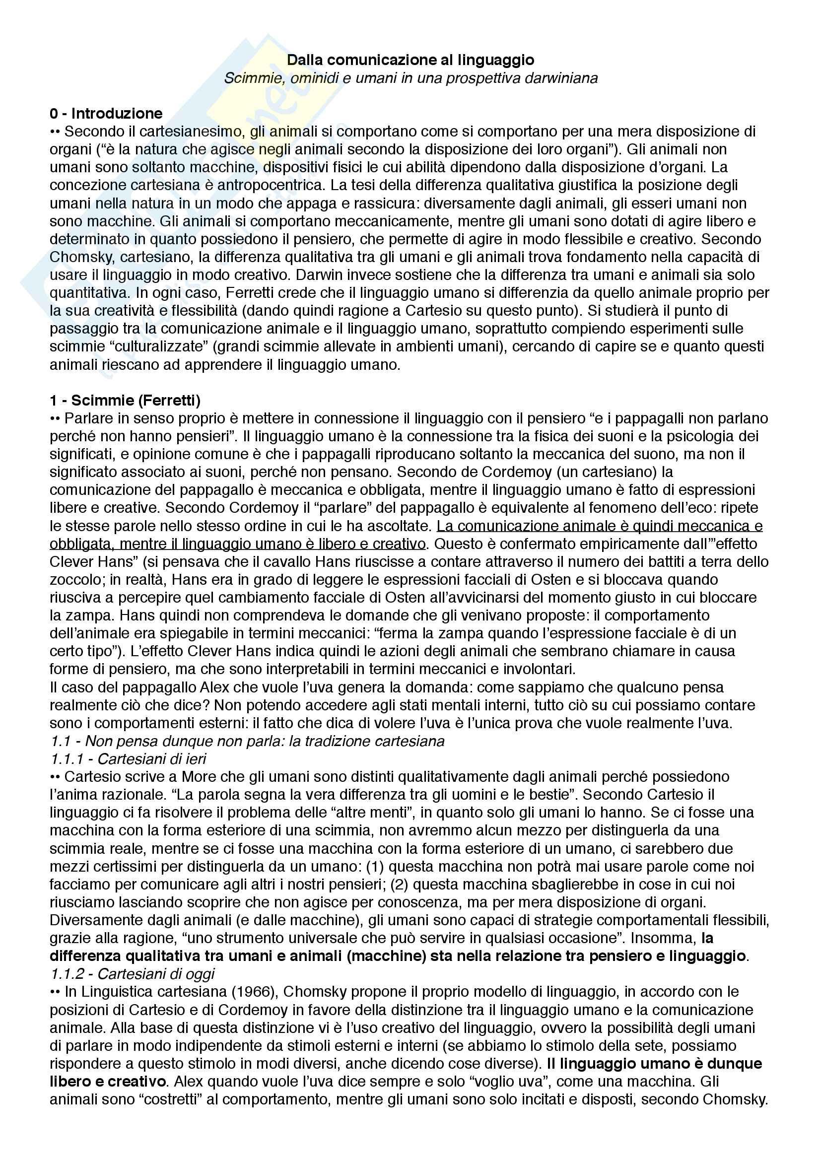 Riassunto esame Filosofia del linguaggio e della comunicazione, prof. Ferretti, libro consigliato Dalla comunicazione al linguaggio - Scimmie, ominidi e umani in una prospettiva darwiniana, Ferretti e Adornetti