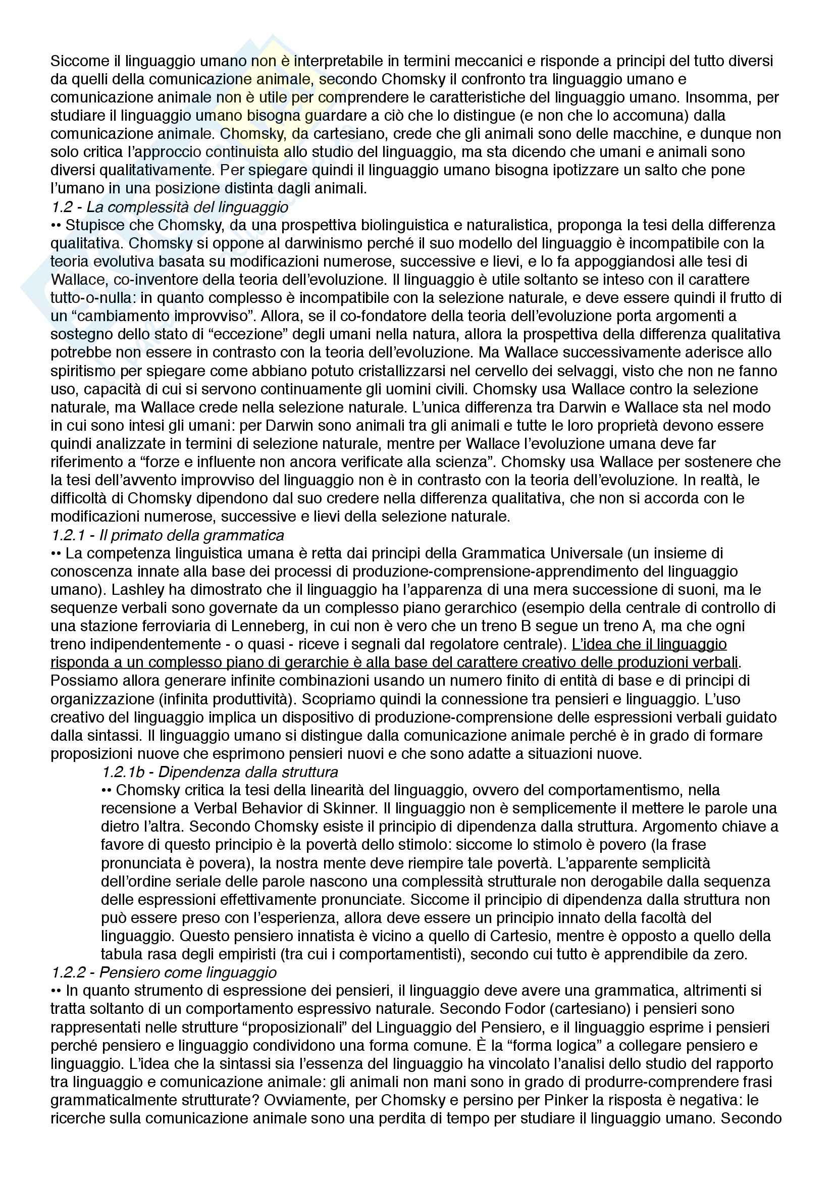 Riassunto esame Filosofia del linguaggio e della comunicazione, prof. Ferretti, libro consigliato Dalla comunicazione al linguaggio - Scimmie, ominidi e umani in una prospettiva darwiniana, Ferretti e Adornetti Pag. 2