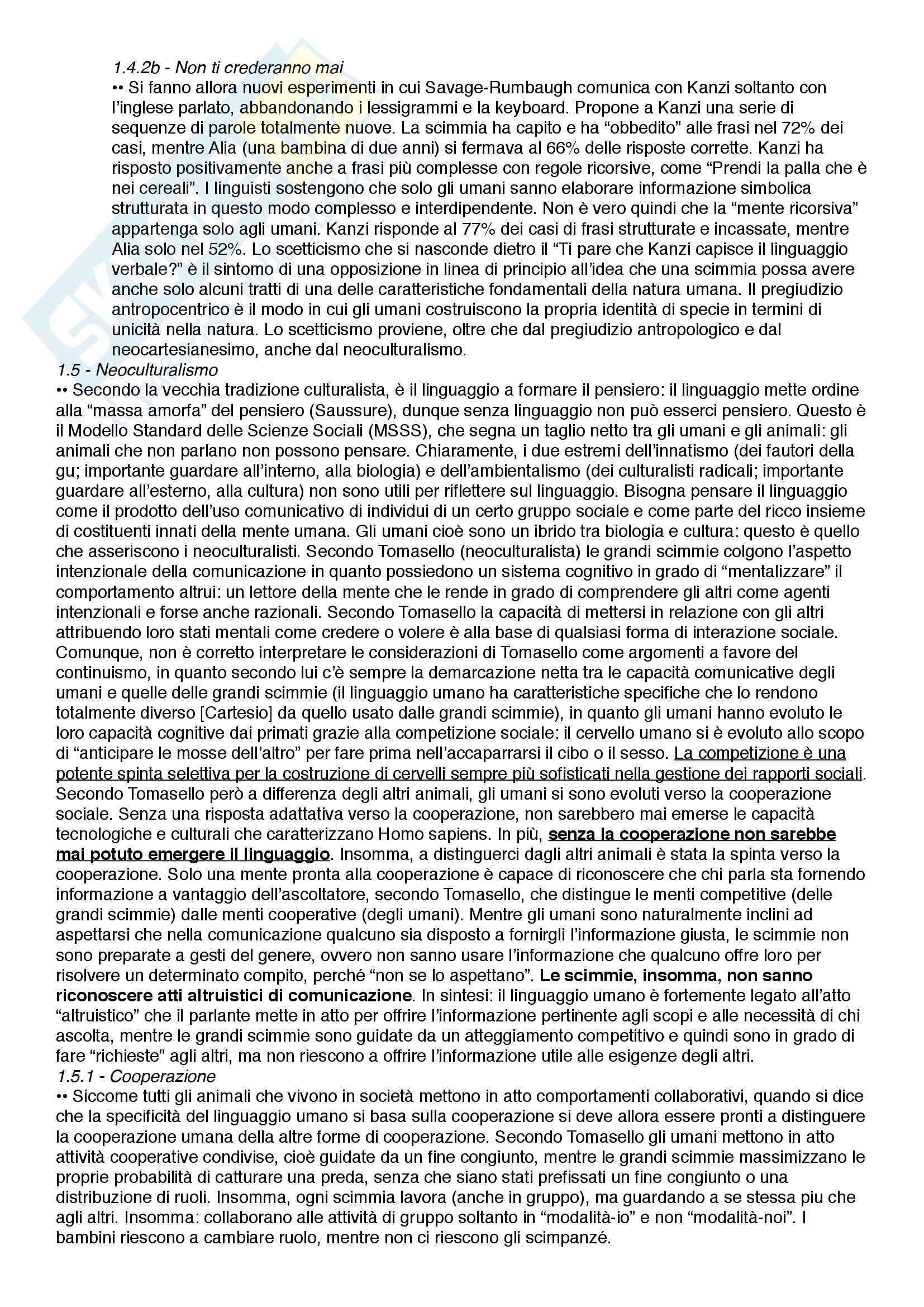 Riassunto esame Filosofia del linguaggio e della comunicazione, prof. Ferretti, libro consigliato Dalla comunicazione al linguaggio - Scimmie, ominidi e umani in una prospettiva darwiniana, Ferretti e Adornetti Pag. 6