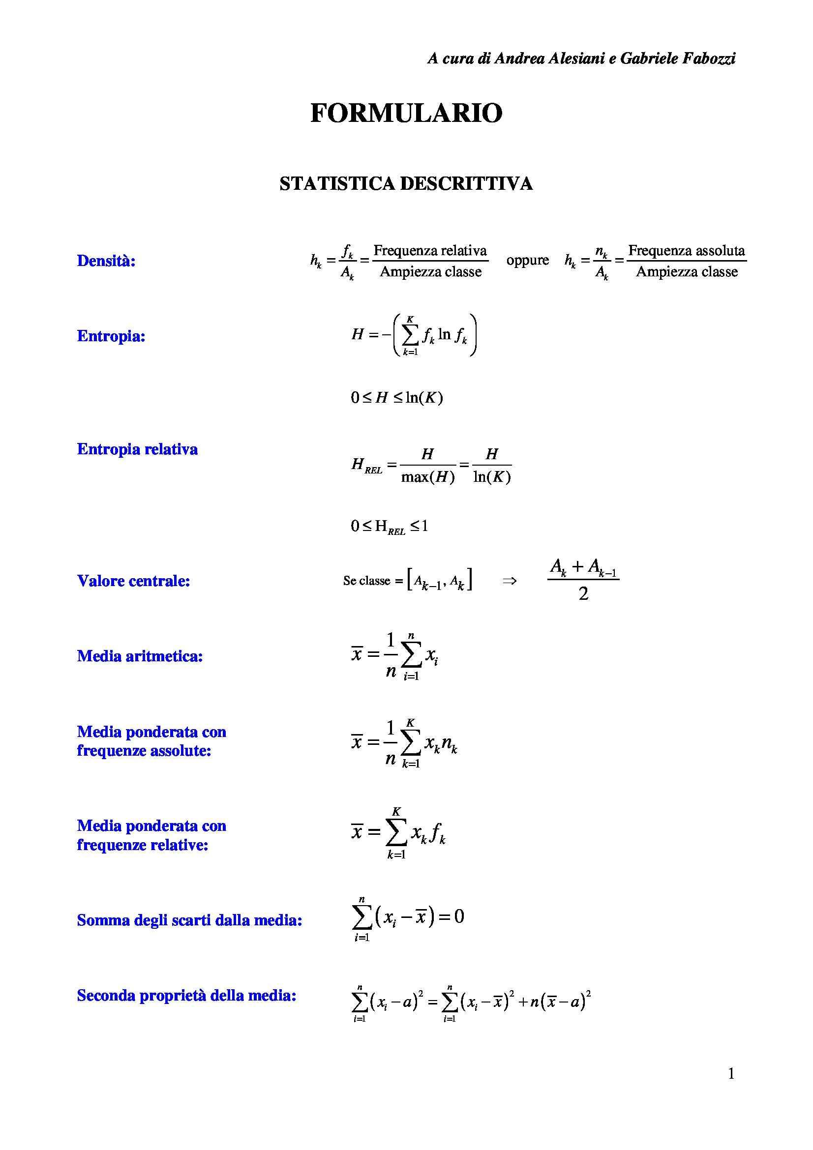 Statistica, probabilità e inferenza - Formulario