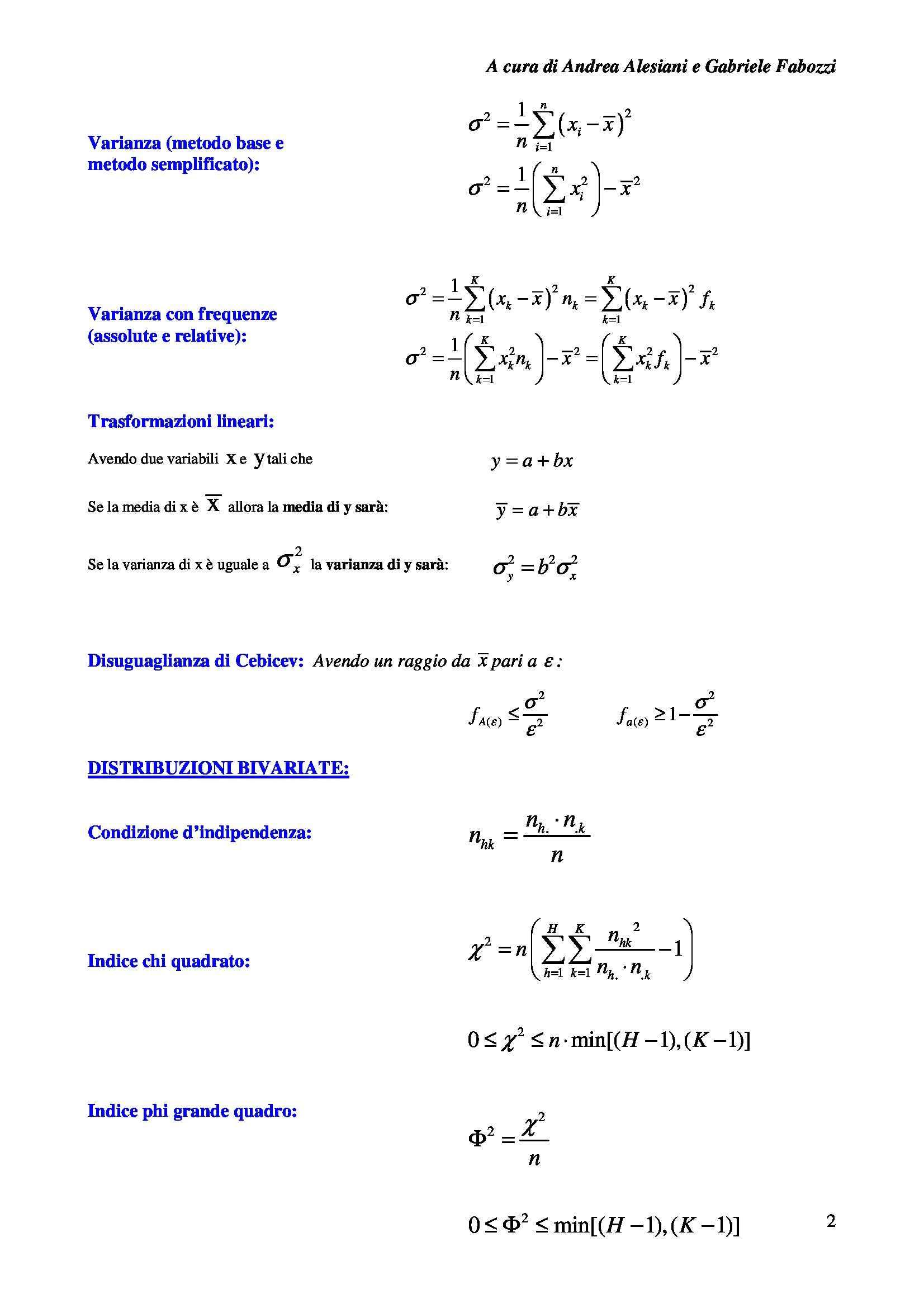 Statistica, probabilità e inferenza - Formulario Pag. 2