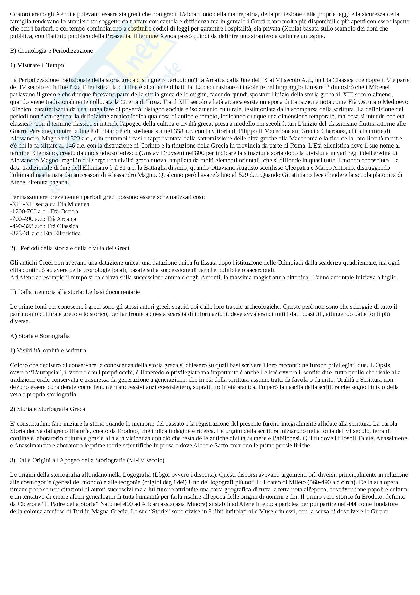 Riassunto esame Letteratura Greca, docente Catenacci, libro consigliato Il mondo dei Greci Profilo di Storia Civilt e Costume, Daverio Rocchi Pag. 2
