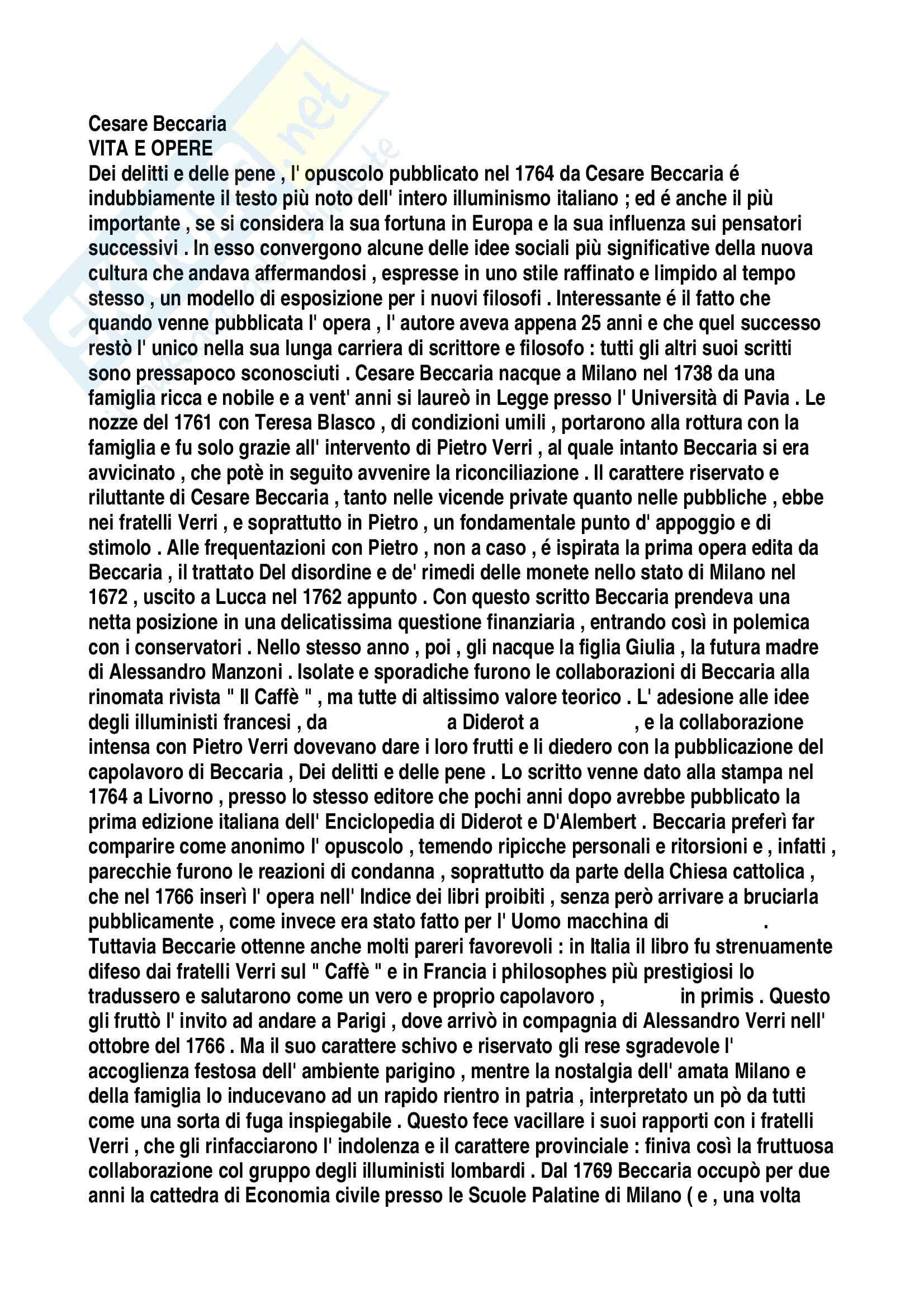 Diritto penale - Tesi su Cesare Beccaria