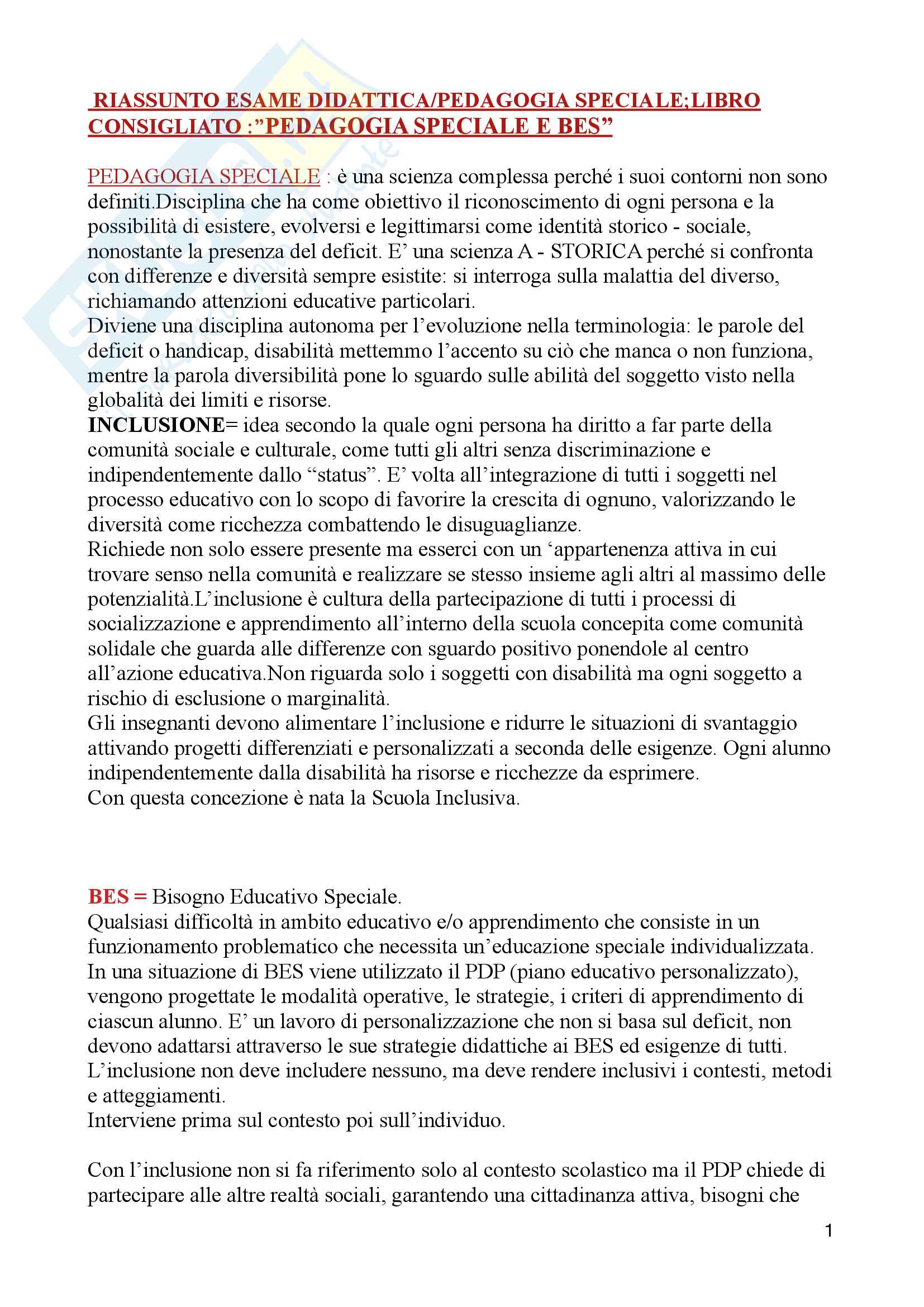 "Riassunto esame pedagogia/didattica speciale, prof. Patrizia Gaspari, libro consigliato ""Pedagogia speciale e bes"", Patrizia Gaspari"