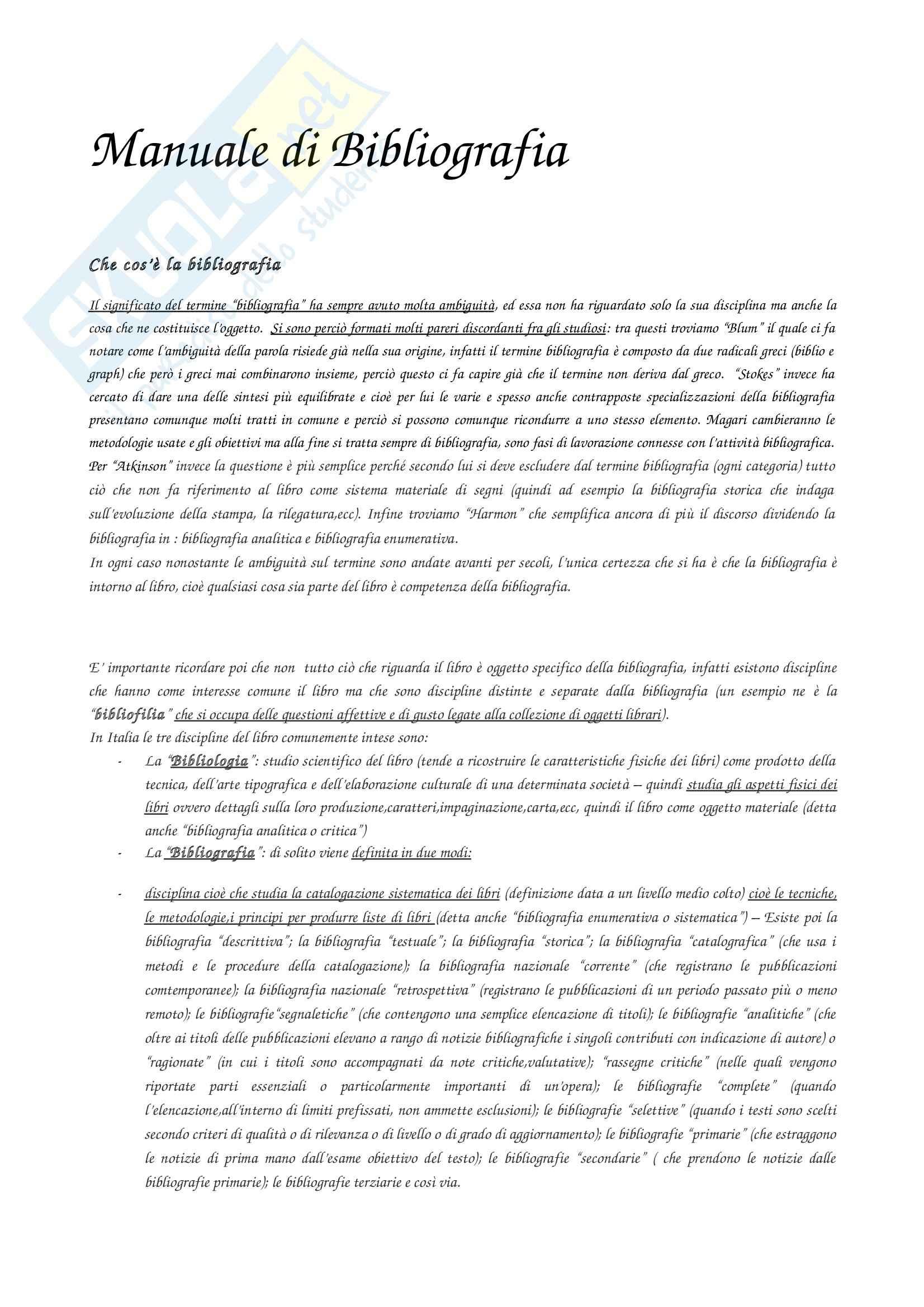 Riassunto esame Bibliografia, prof. Marquardt, libro consigliato Manuale di bibliografia, Pensato