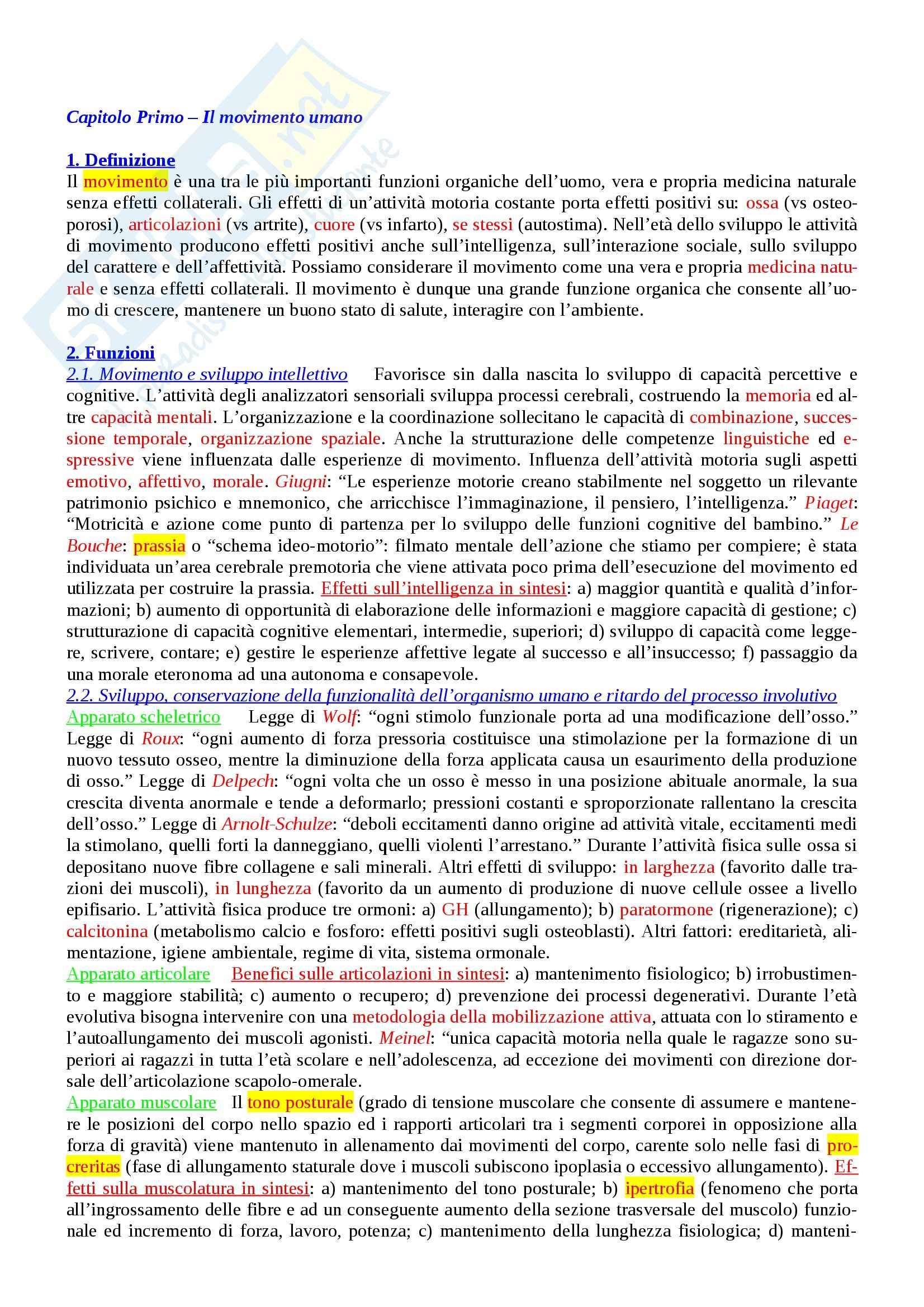 Riassunto esame Teoria e Metodologia del Movimento Umano, prof. Casolo, libro consigliato Lineamenti di Teoria e Metodologia del Movimento Umano