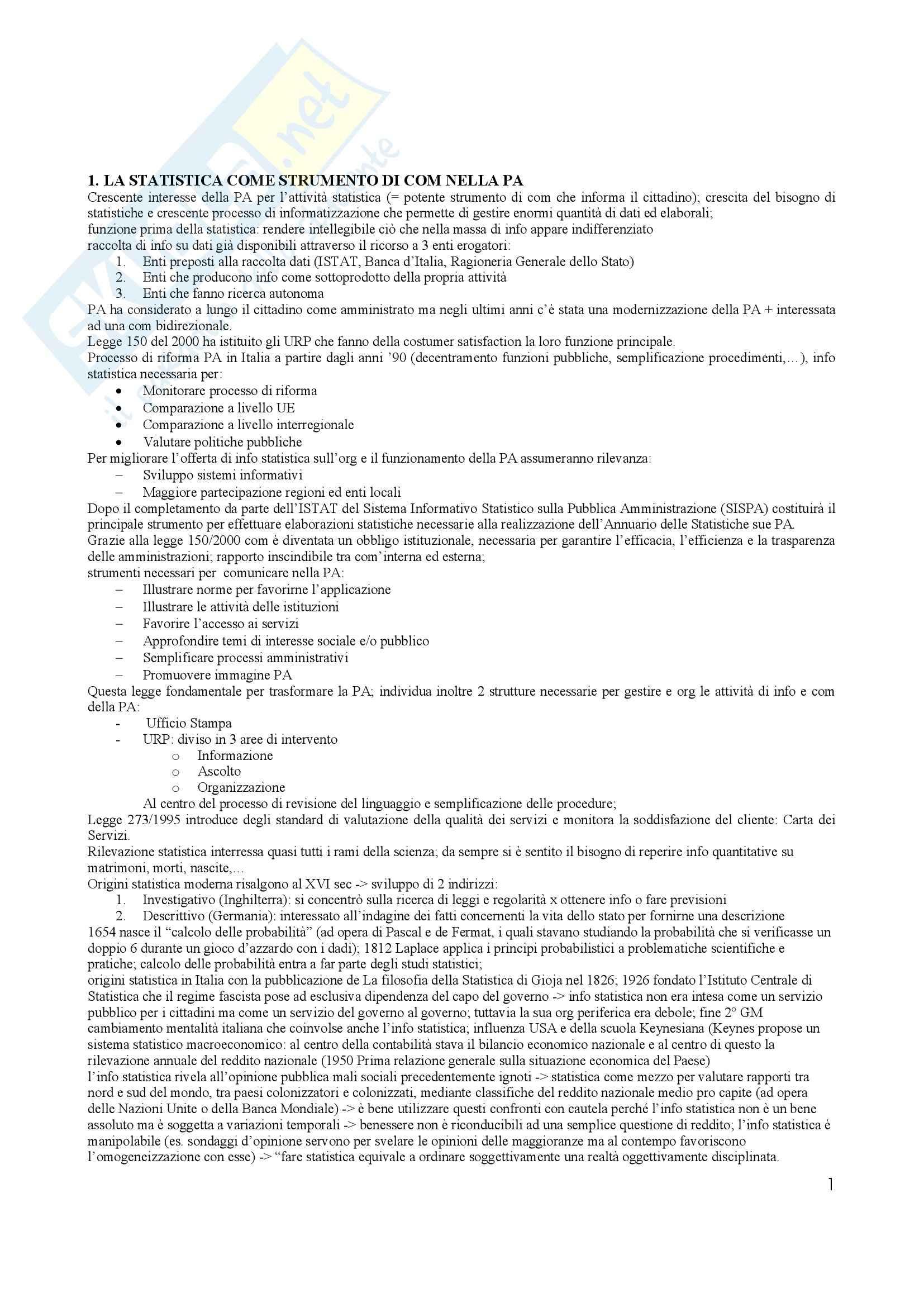 Riassunto esame Statistica per la pa, prof. Baragona, libro consigliato Statistica per la Pubblica Amminstrazione, Grassetti