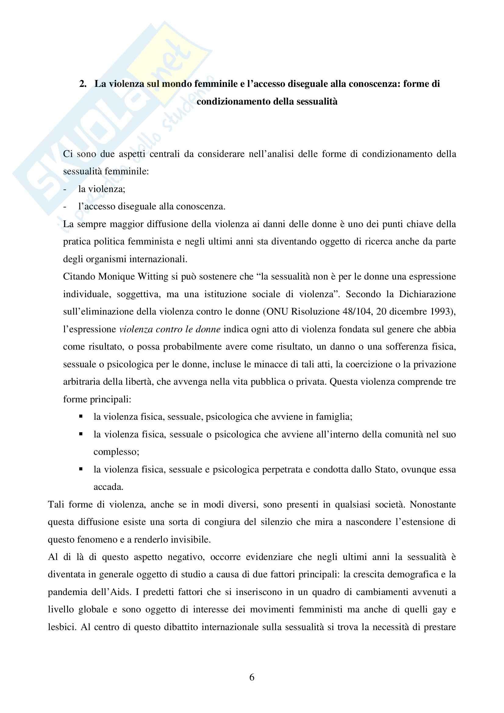 Sociologia delle differenze e delle disuguaglianze sociali - essere donne Pag. 6