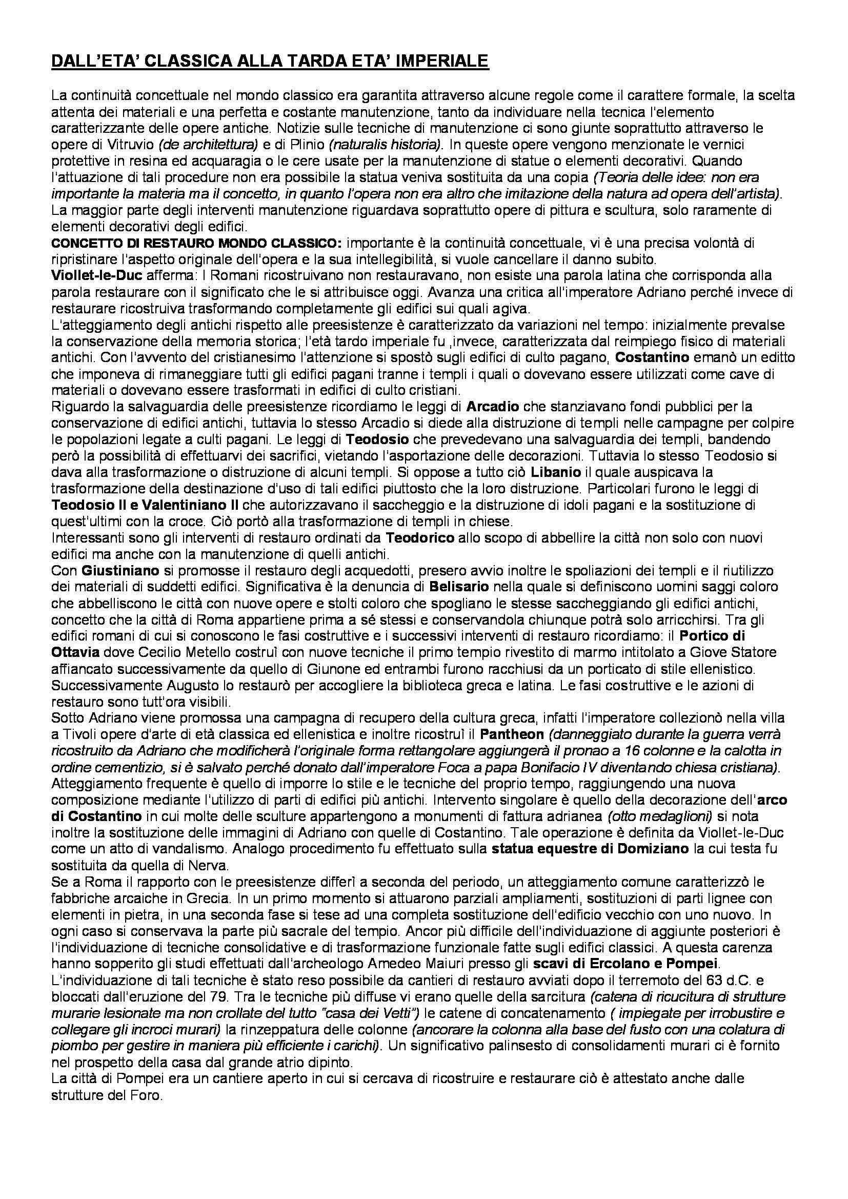 Riassunto esame Teoria e Storia del Restauro, prof. Picone, libro consigliato Verso una Storia del Restauro, Casiello