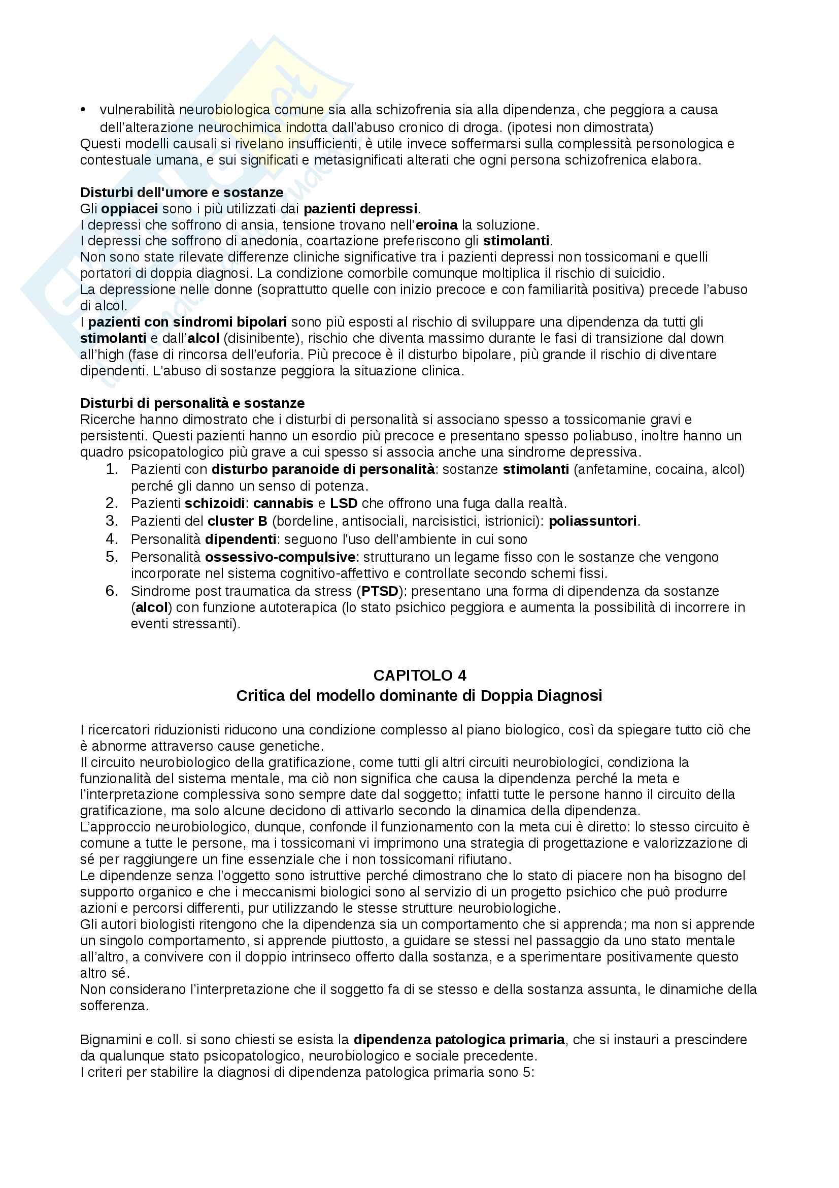 Riassunto esame Dipendenze Patologiche, docente Di Blasi, libro consigliato Doppia Diagnosi, autore Rigliano Pag. 6