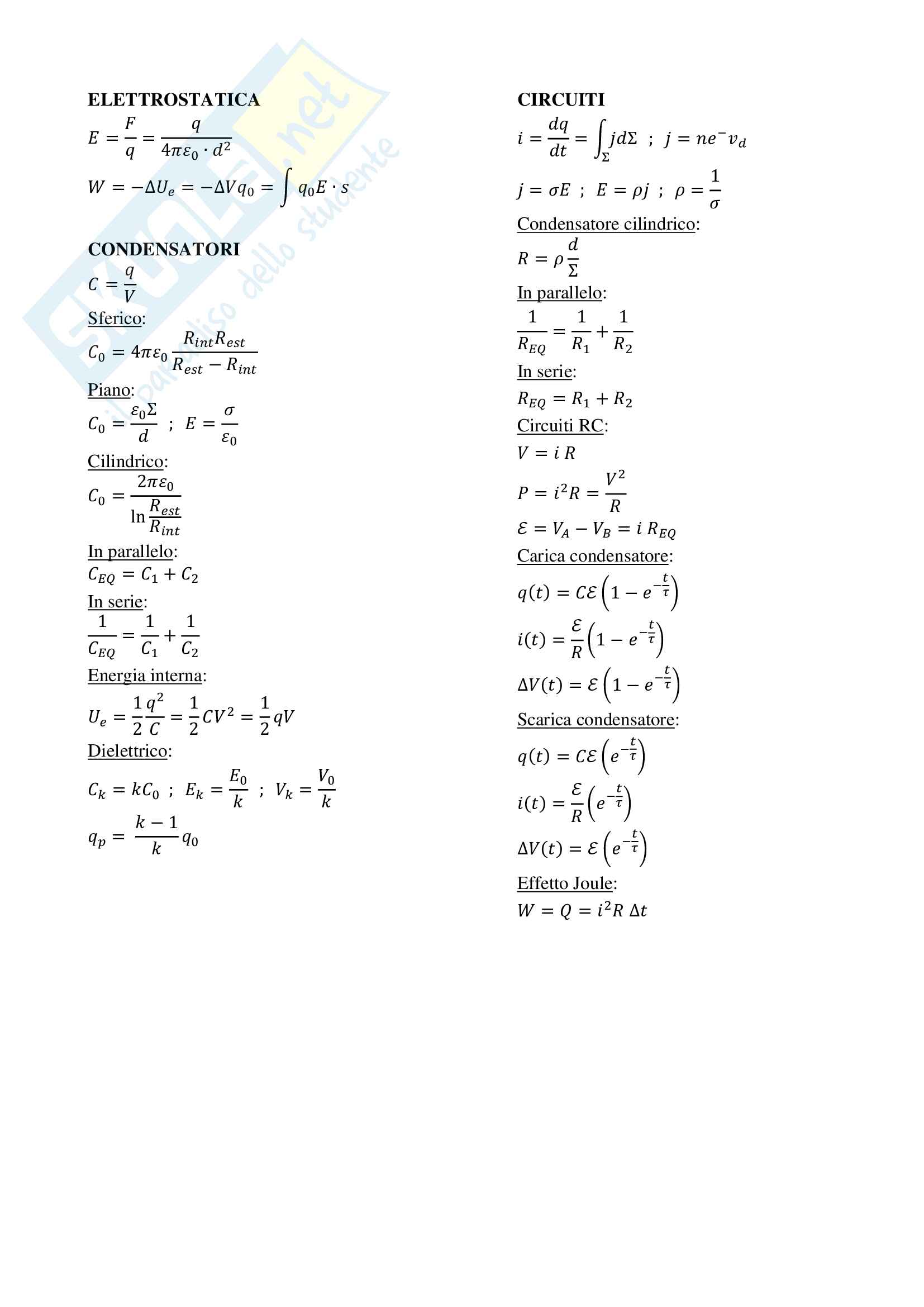 Formulario completo Elettromagnetismo  - Fisica 2