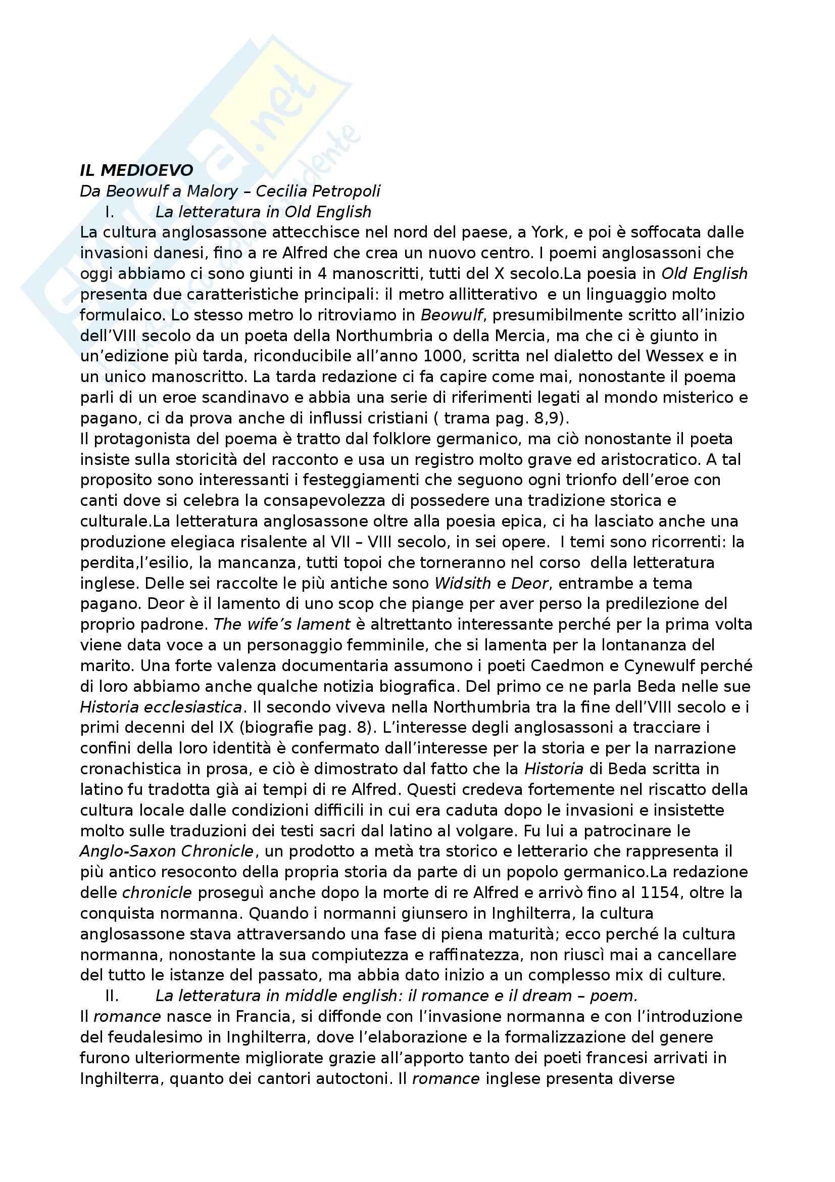 Riassunto esame Letteratura inglese, prof. Crisafulli, libro consigliato Manuale di Letteratura e cultura inglese, Elam, Crisafulli