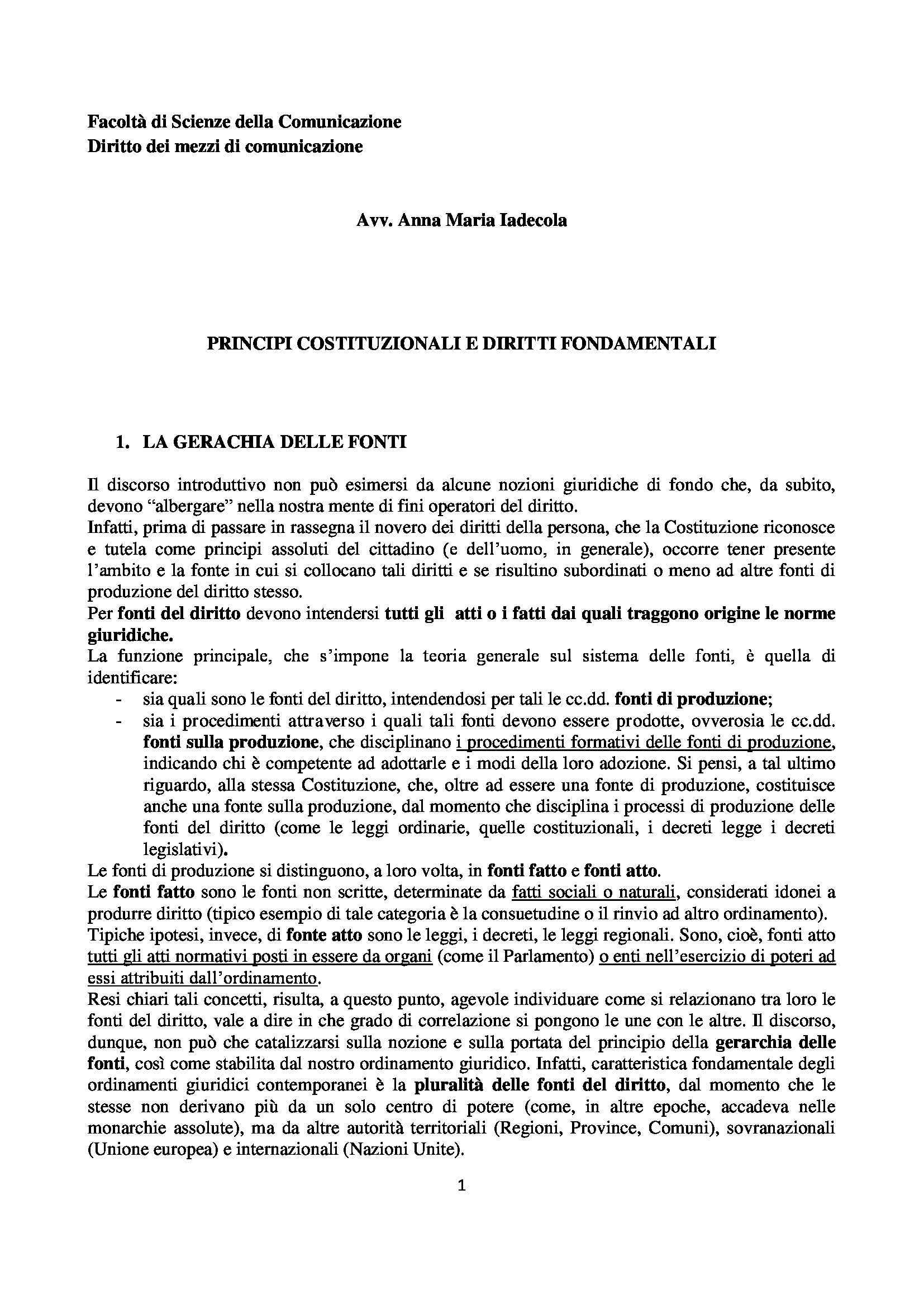 Diritto dei mezzi di comunicazione - i principi costituzionali e i diritti fondamentali