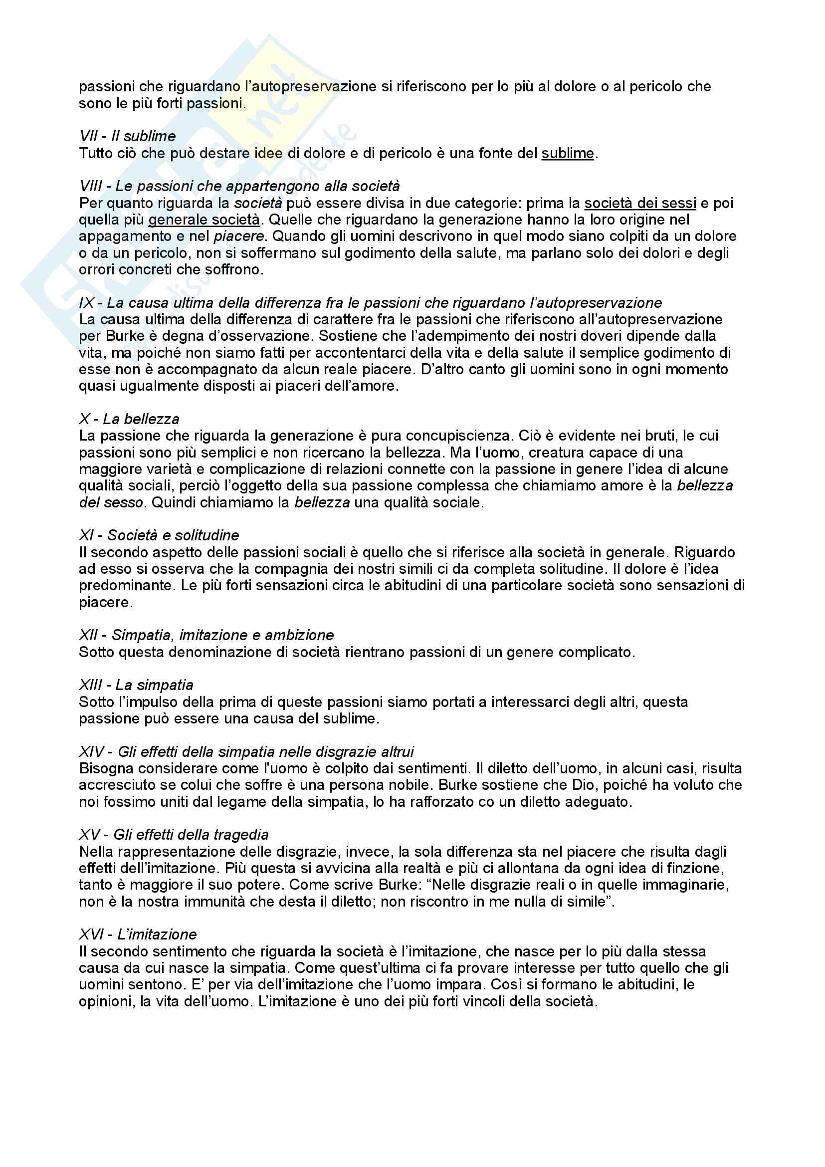 Riassunto esame Estetica, prof. Franzini, libro consigliato Inchiesta sul Bello e il Sublime, Burke Pag. 2