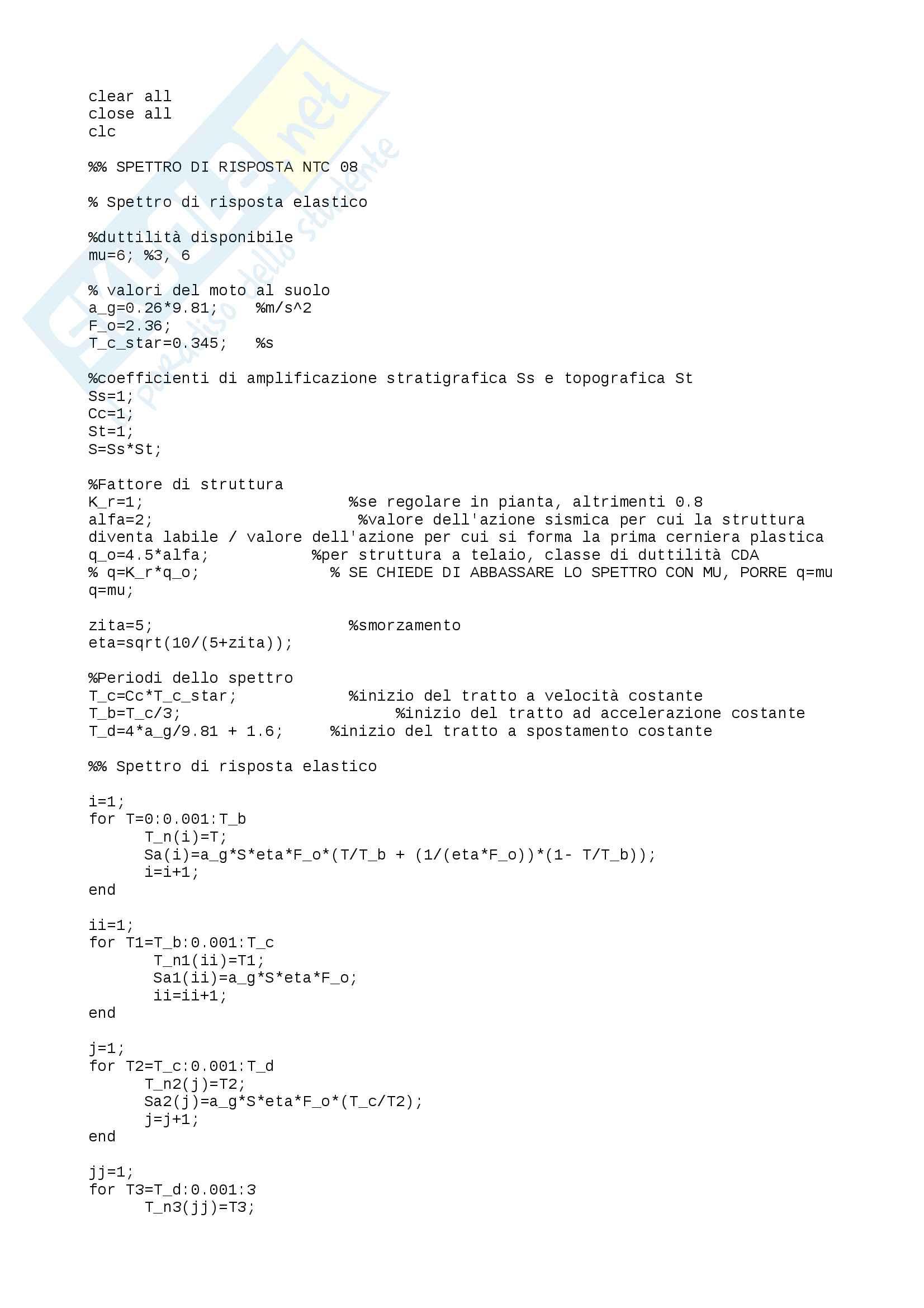 Algoritmo Matlab costruzione spettri NTC08