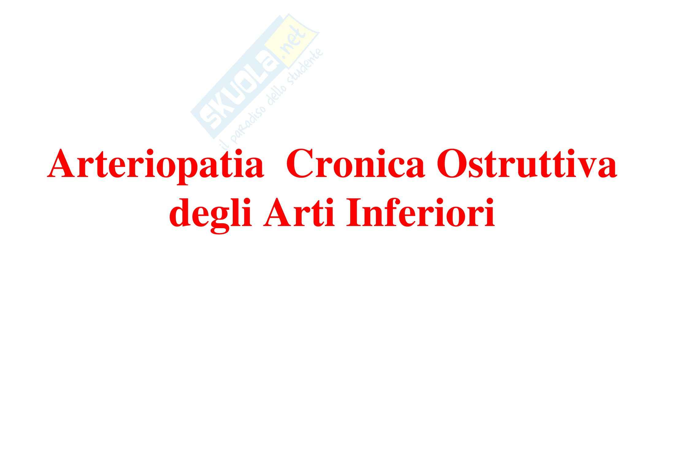 Cardiochirurgia - arteriopatia cronica ostruttiva arti inferiori