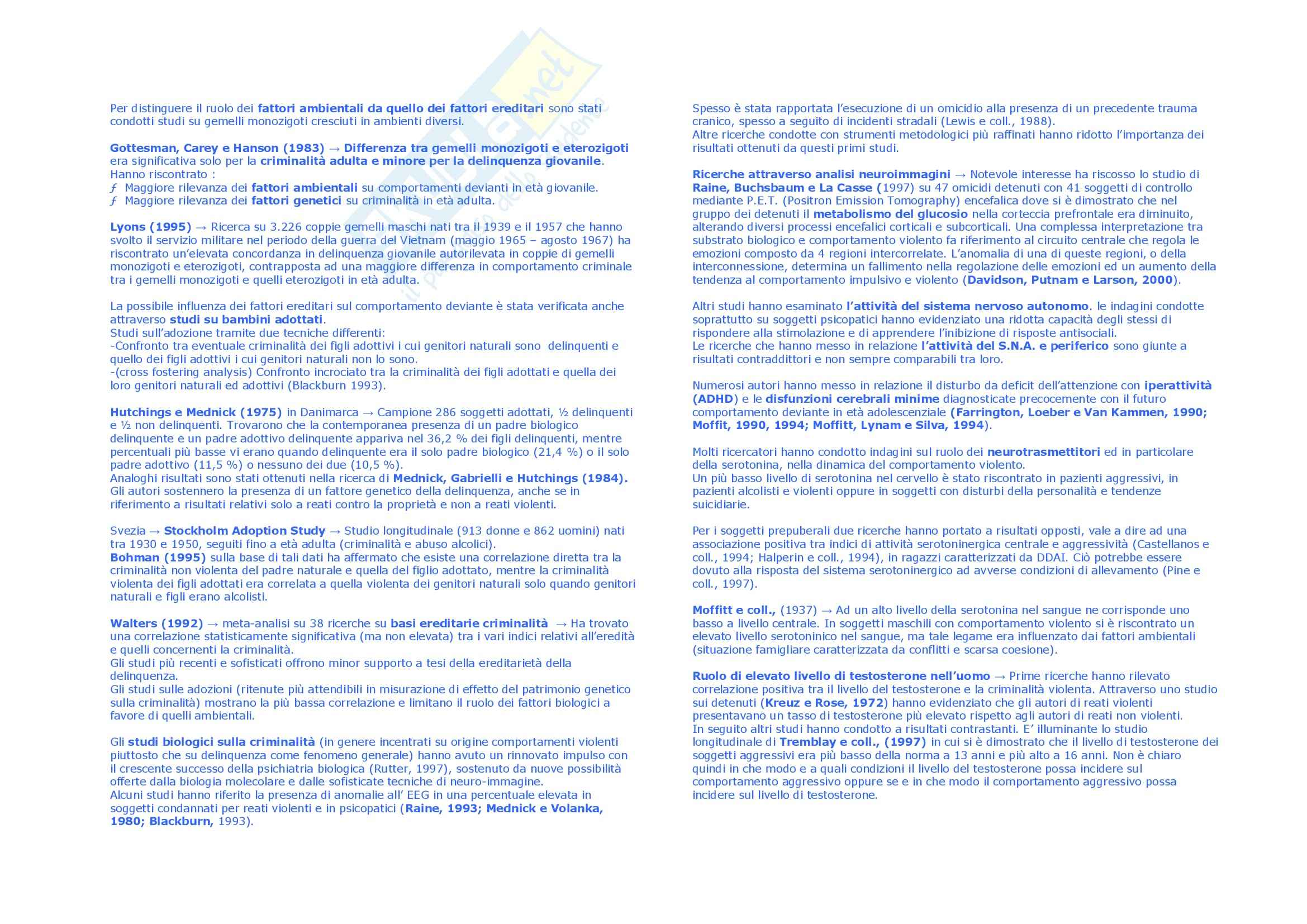 Riassunto esame Sociologia, prof. Scarscelli, libro consigliato Criminologia, Bandini Pag. 2