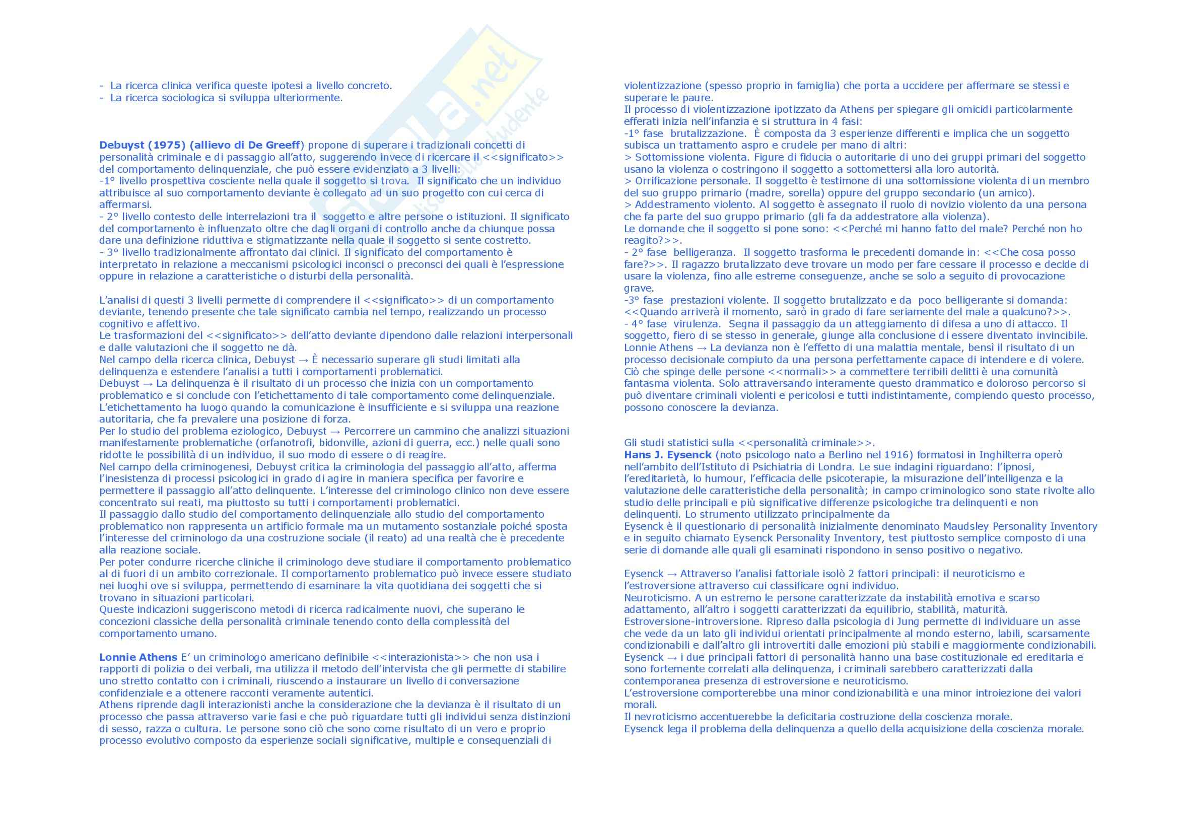 Riassunto esame Sociologia, prof. Scarscelli, libro consigliato Criminologia, Bandini Pag. 6