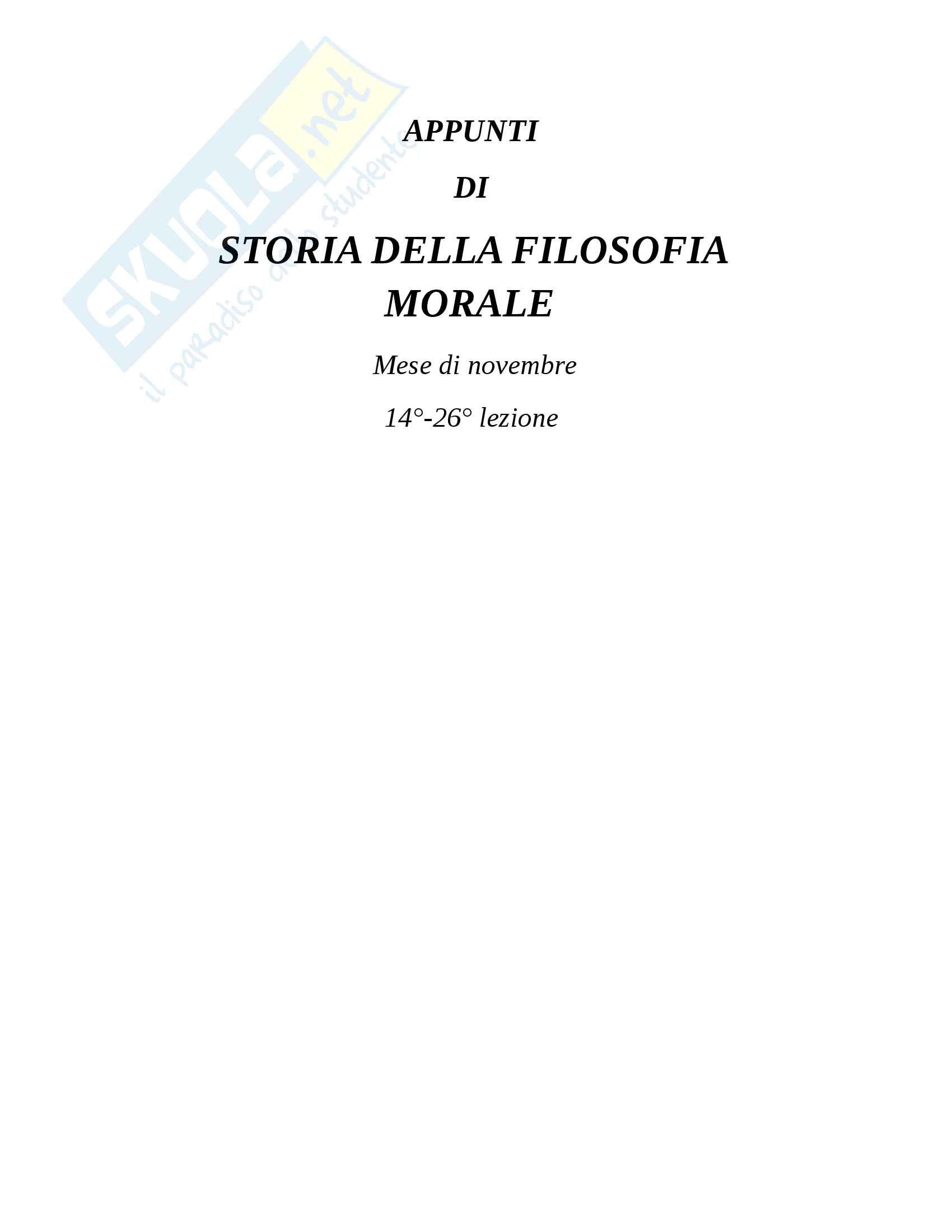 Appunti di storia della filosofia morale: novembre 14-26 lezione