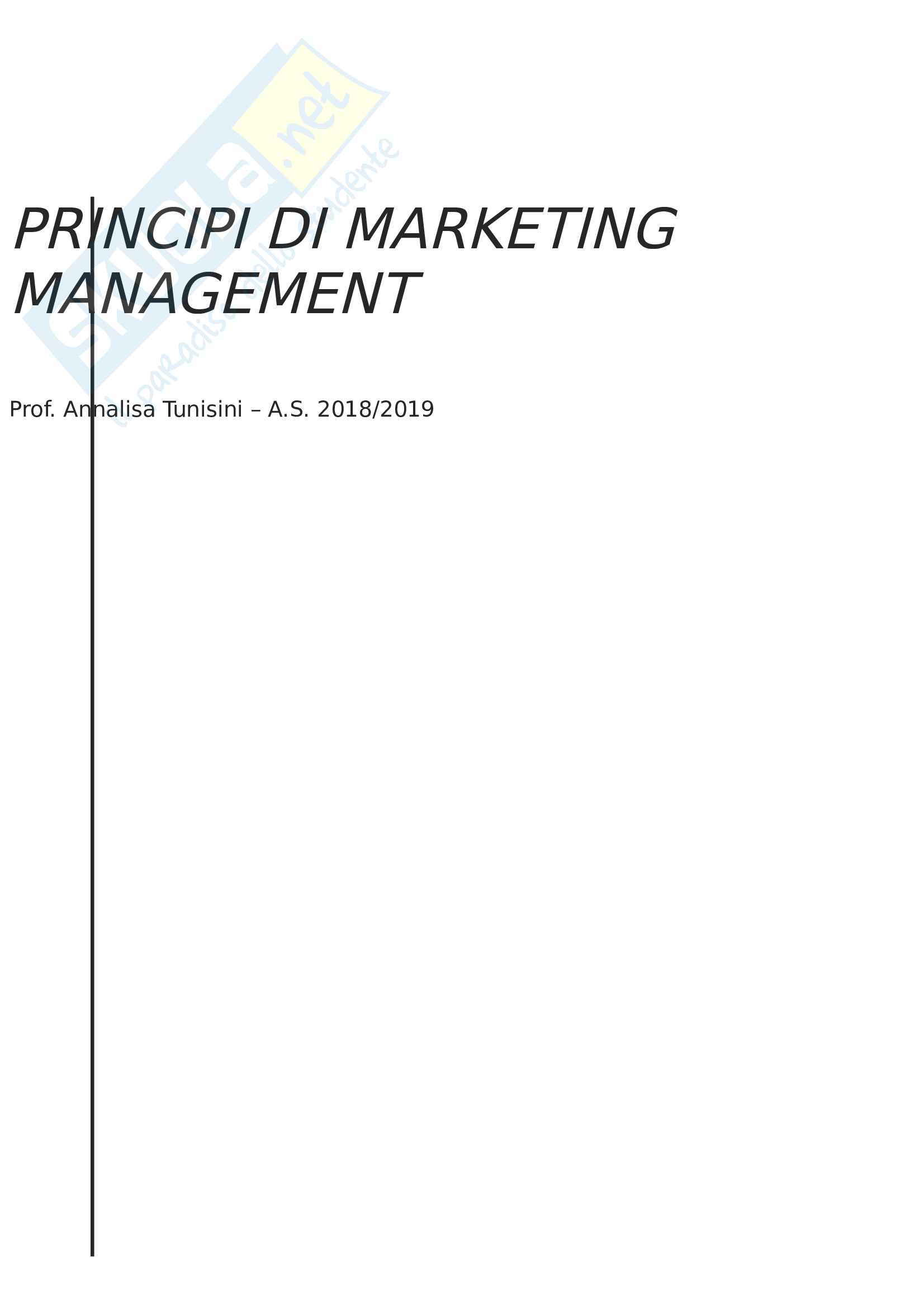 Appunti del corso Principi di Marketing Management, Prof. Annalisa Tunisini