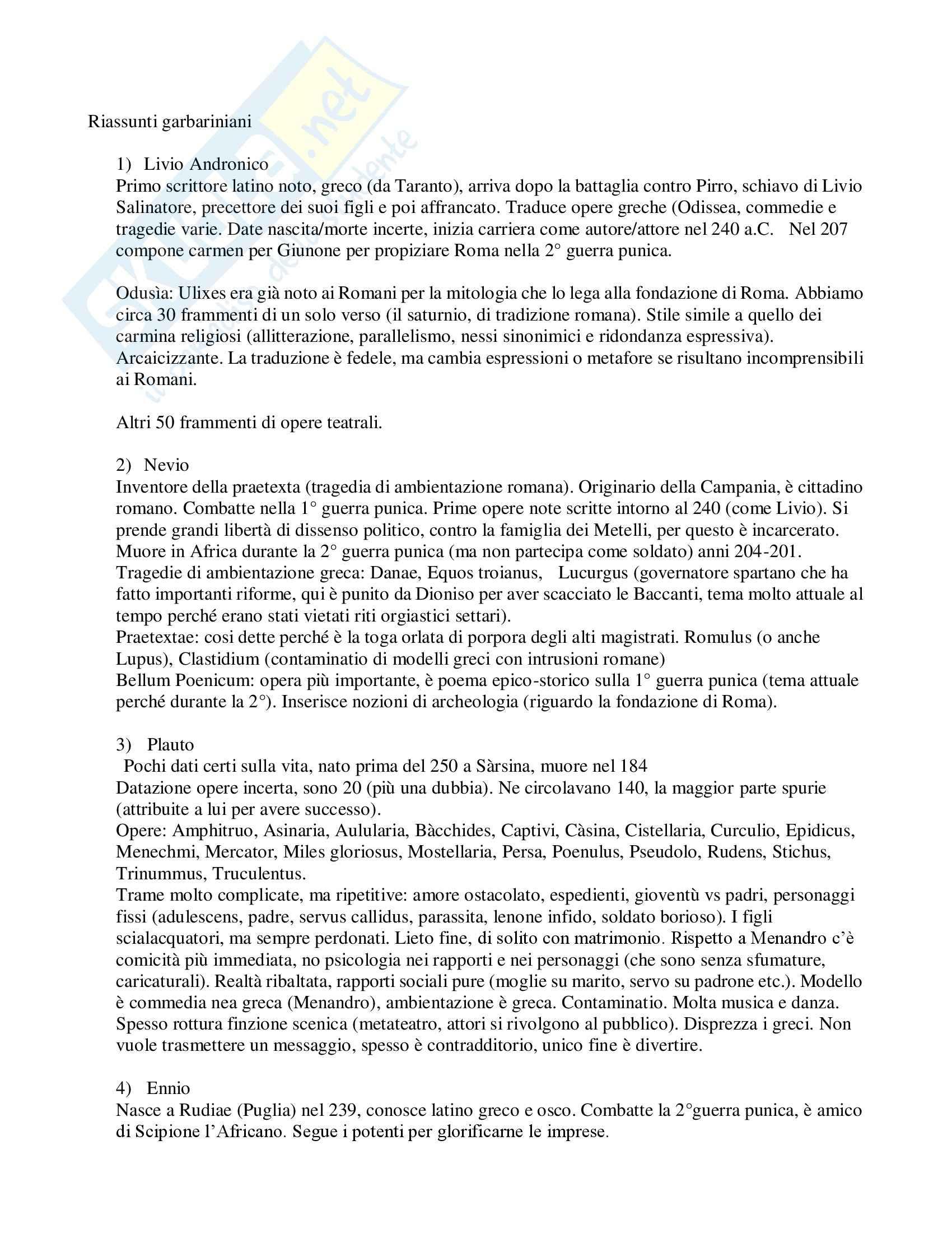 Letteratura latina - Schemi
