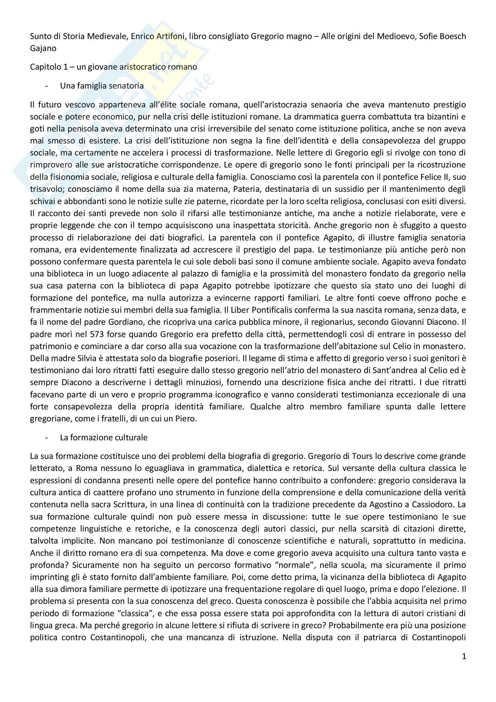 Riassunto esame Storia Medievale, prof. Enrico Artifoni, libro consigliato Gregorio Magno. Alle origini del Medioevo, Sofie Boesch Gajano