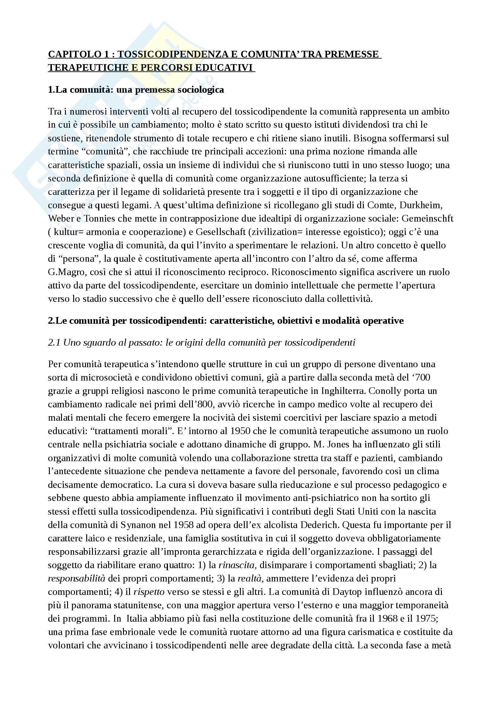 Riassunto esame Criminologia applicata, prof. Bisi, libro consigliato Tossicodipendenze comunità e trattamento Pag. 2