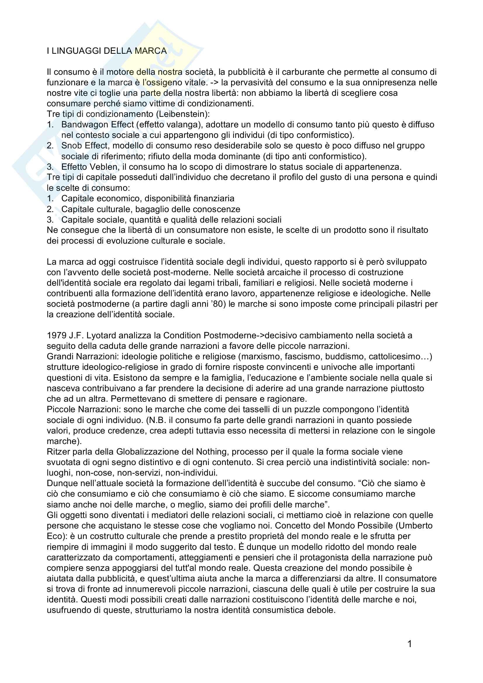 Riassunto esame Sociologia del Turismo, prof. Polesana, libro consigliato I Linguaggi della Marca, Ferraresi